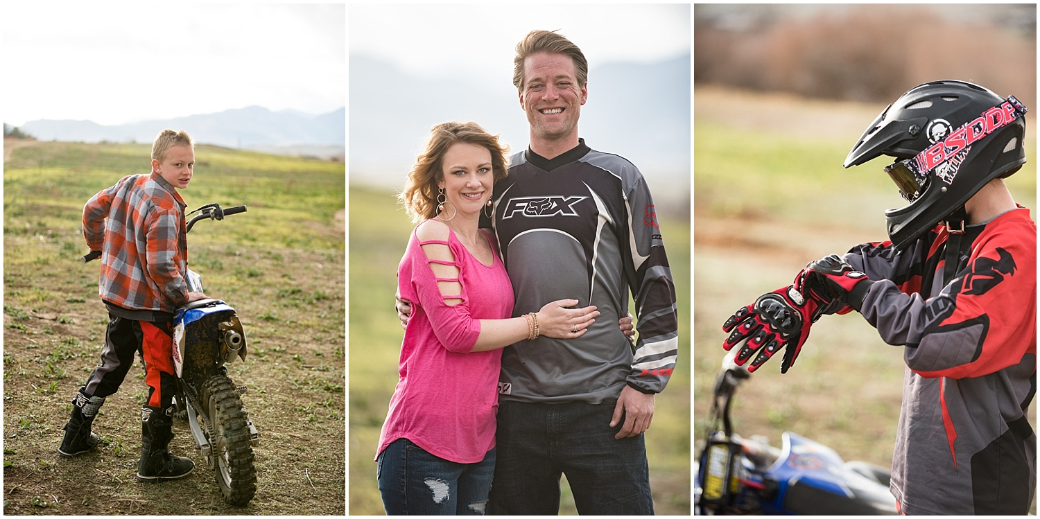 Family on Dirt Bikes | Dirt Bike Engagement Session | Colorado Adventure Engagement Photographer | Rocky Mountain Elopement Photography | Farm Wedding Photographer | Apollo Fields Photojournalism