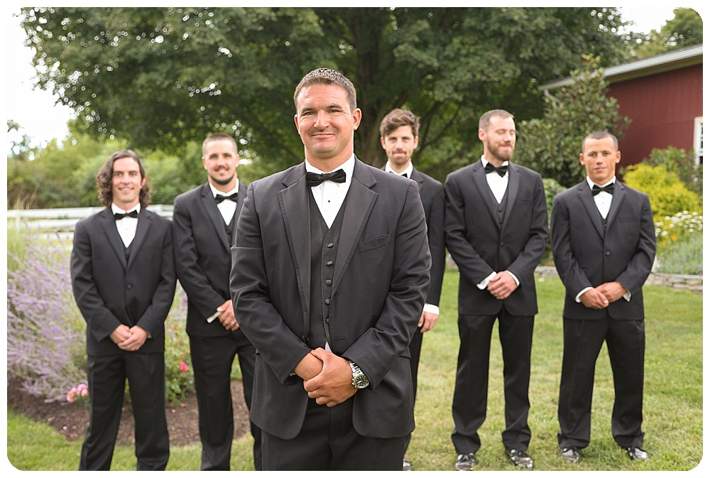 Groom Groomsmen Suits Upstate New York Farm Wedding
