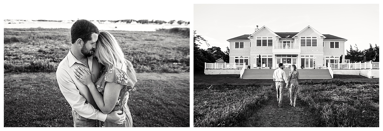 Apollo Fields Black and White Engagement Photos in Montauk