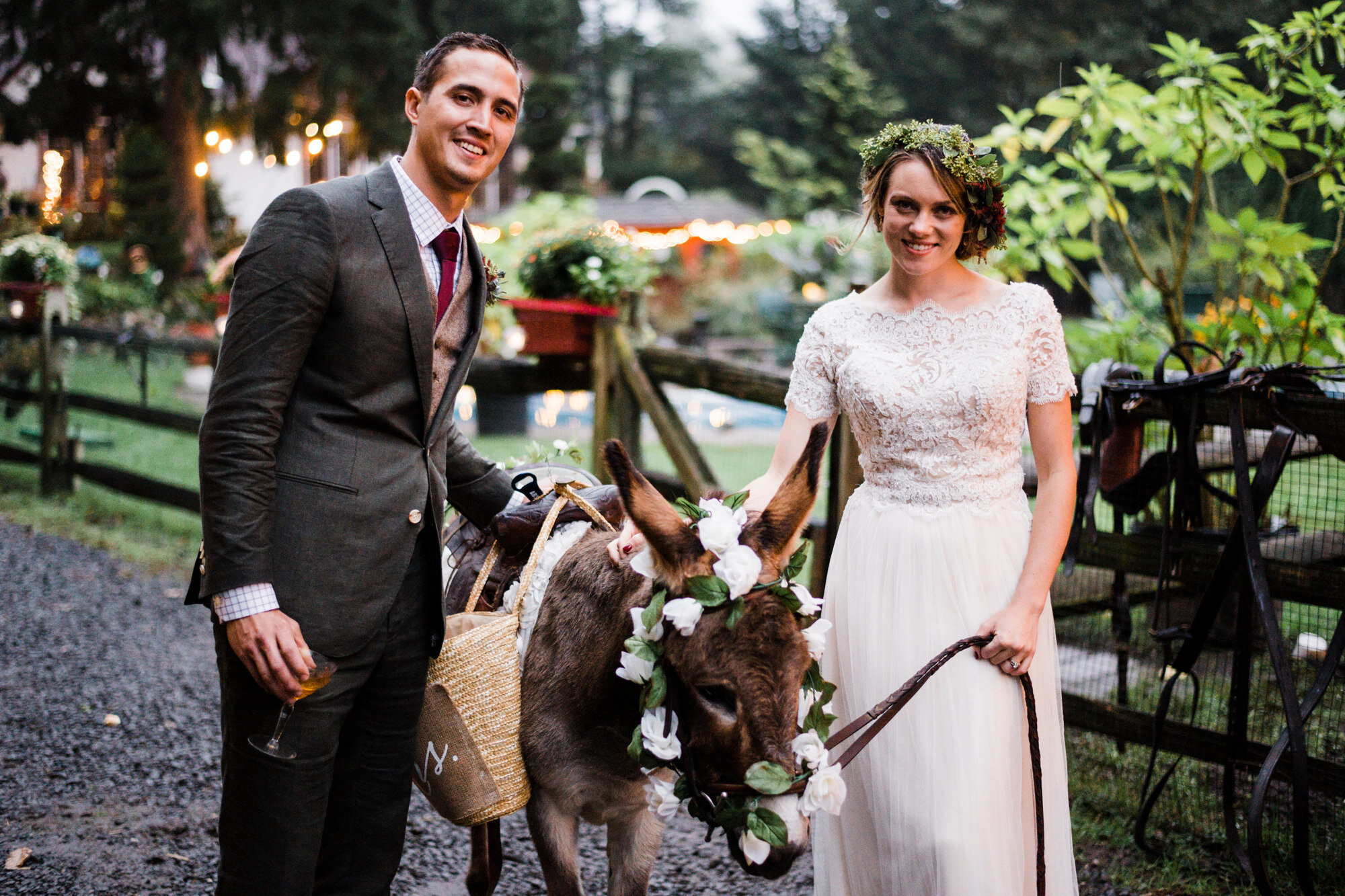 All Weddings Need Beer-Toting Donkeys - Pretty self-explanatory here. We had Heather's aunt Pam's donkey, Brownie, outfitted with a custom-made beer basket by her uncle, Steve, for our wedding. Just another day in the life. Happy one year anniversary, babe!
