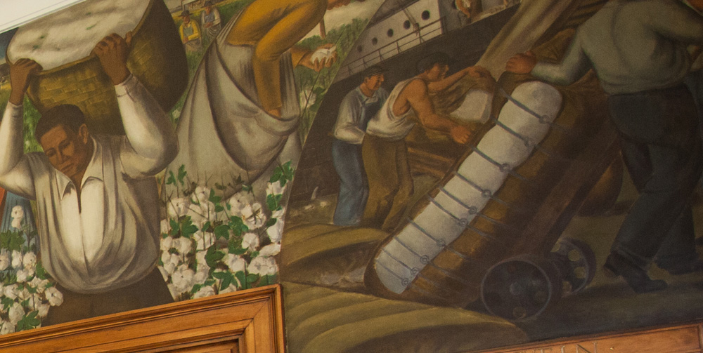 Closeup of Dardanelle WPA mural created by Ludwig Mactarian