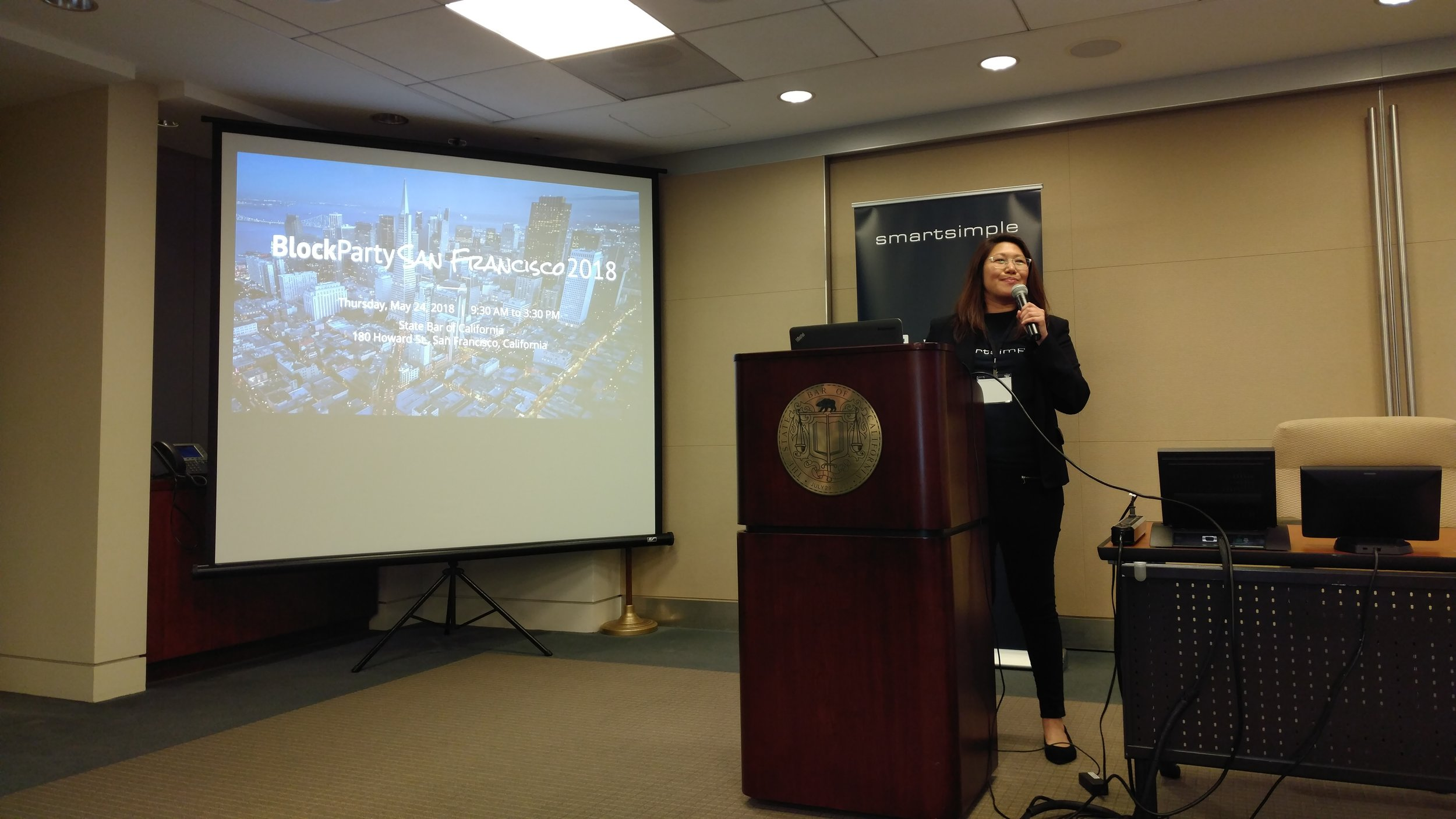 SmartSimple's Marketing Specialist, Claudine Ting kicking things off at our Block Party San Francisco