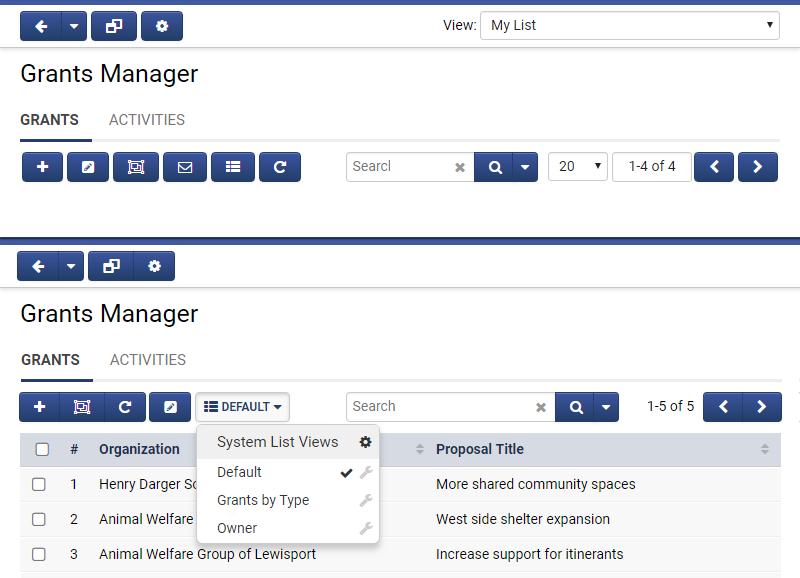Screenshot of Button Groups / List View Selector
