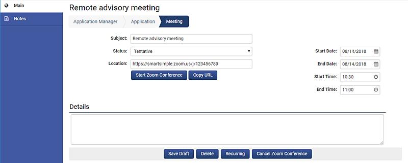Screenshot of Zoom Integration