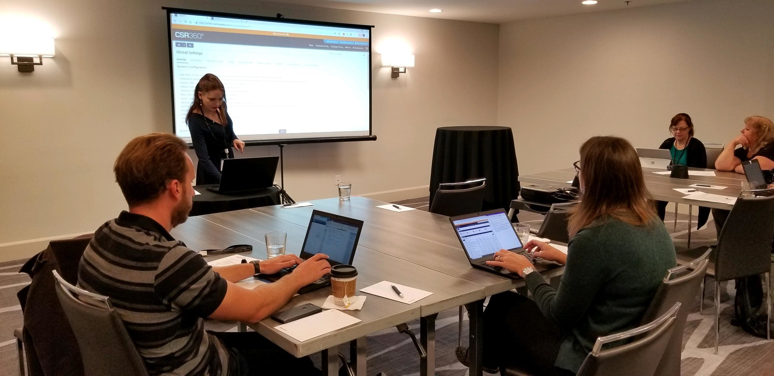 SmartSimple's Technical Learning Specialist, Sharon Courtney, presenting on how to effectively train new staff members on our platform at Block Party Nashville