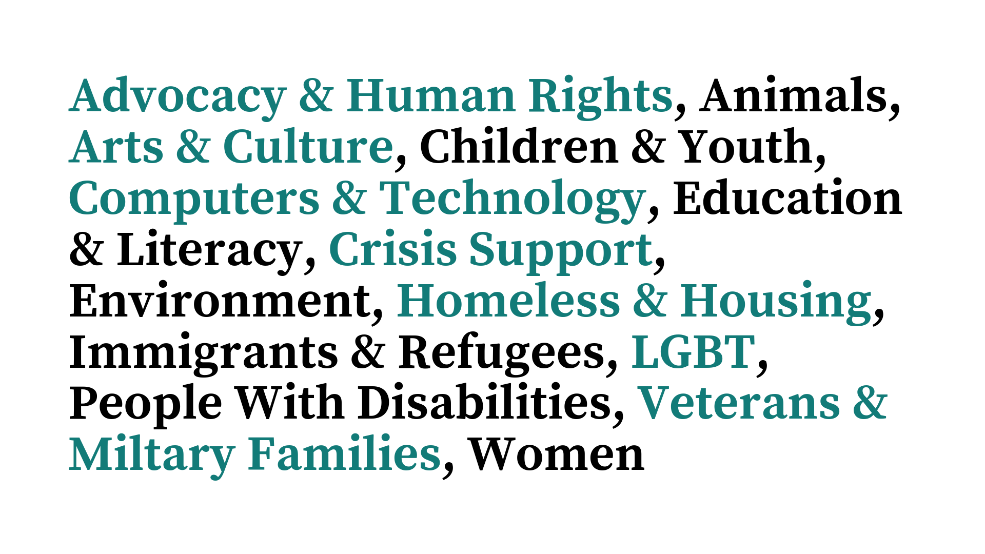 Animals, Arts & Culture, Children & Youth, Computers & Technology, Education & Literacy, Crisis Support, Environment, Homeless & Housing, Immigrants & Refugees, LGBT, People With Disabilities, Veterans & Miltary F.png