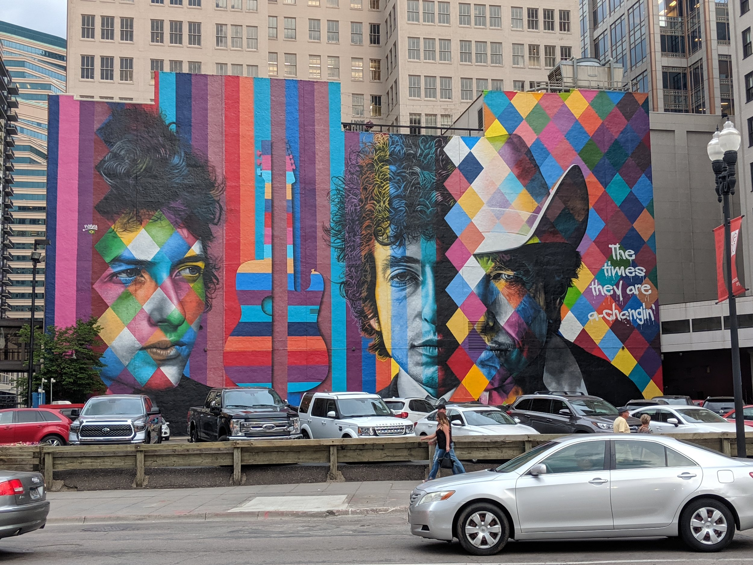 An iconic Minneapolis mural of the iconic Bob Dylan
