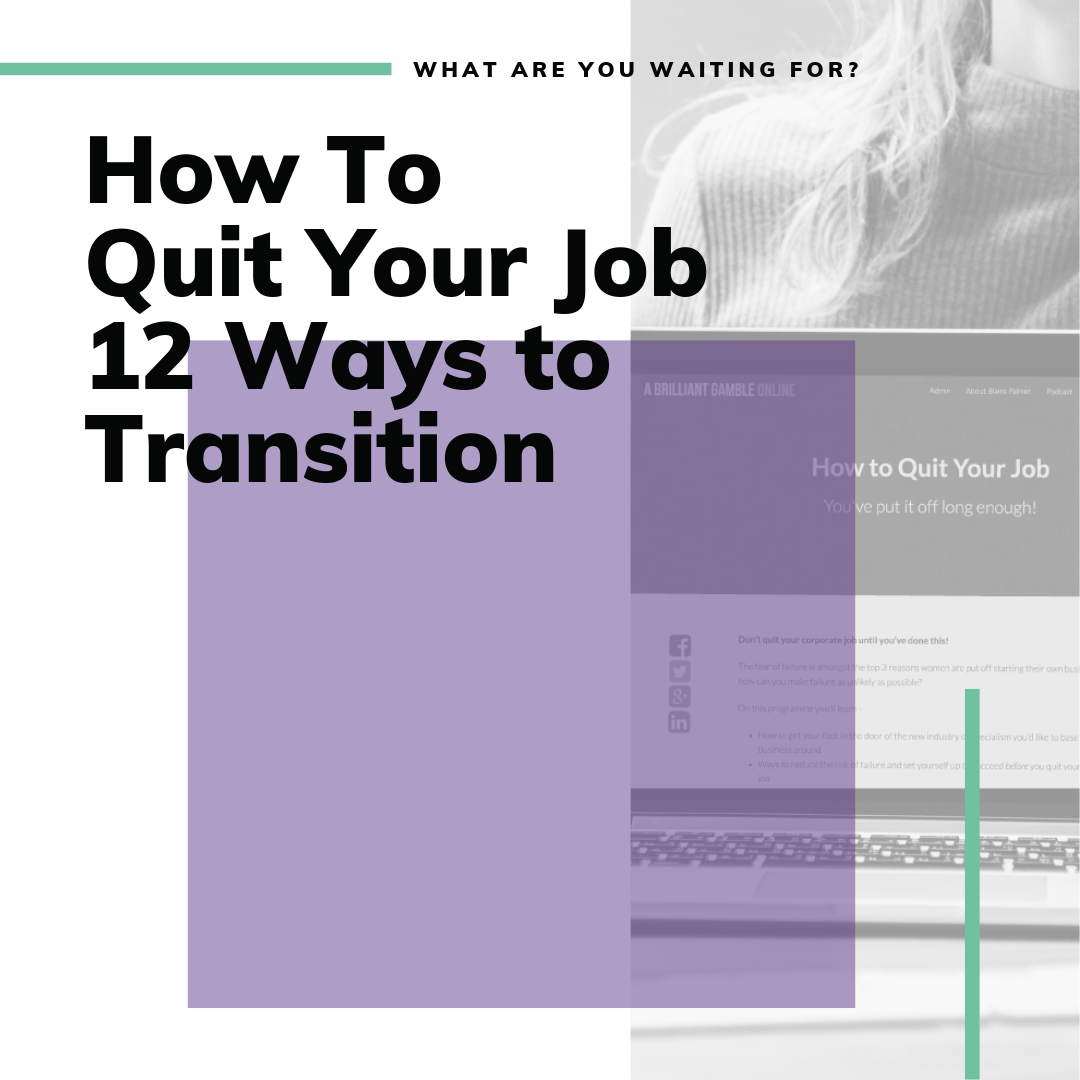 Getting Started - At some point you're going to leave corporate life. But how do you manage the transition and have an exit plan? Not everyone wants to hand in their notice with NO PLAN and no idea how to make money doing what they love until they are sitting in their living room staring at a blank screen on their computer.This video series outlines 12 transition strategies – ways to ease yourself out of your current job into doing what you love full time.
