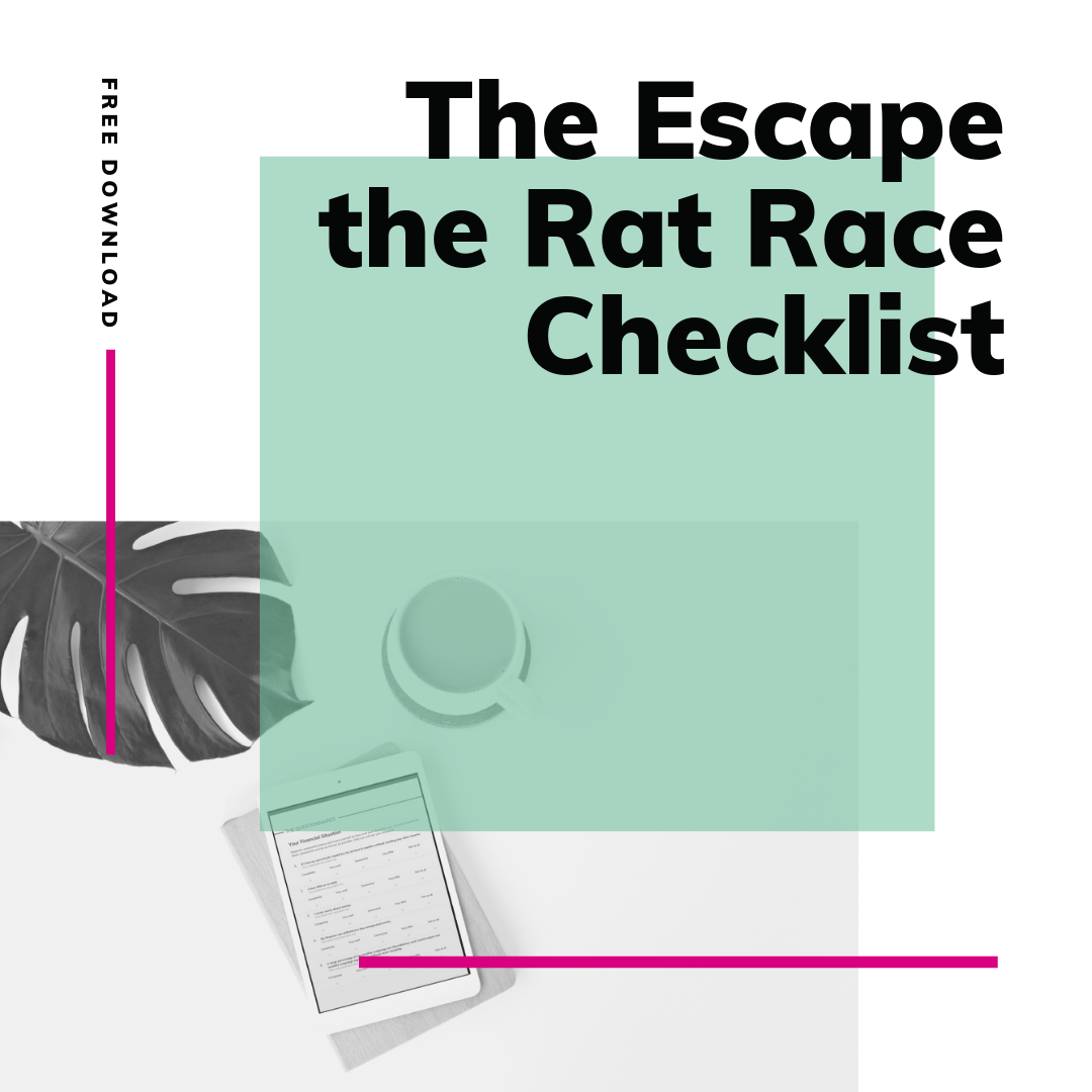 FREE - My Escape the Rat Race Checklist covers every aspect of making the transition from working for someone else to doing something you love for a living outside of the conventional 9-5.