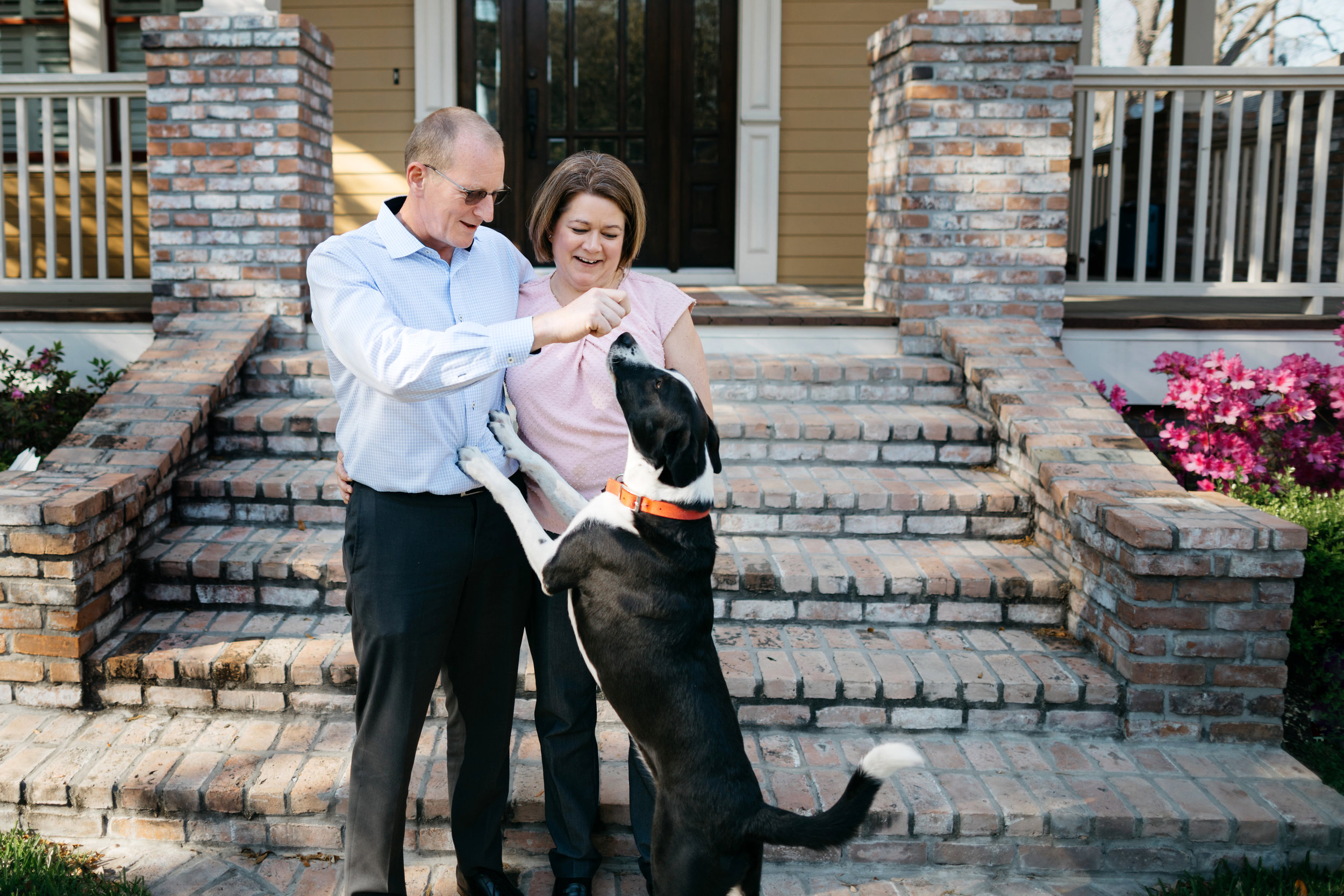 PURE members Buffy Tate and Jonathan Hunt along with their dog, Pepper, at their home in Houston, Texas.