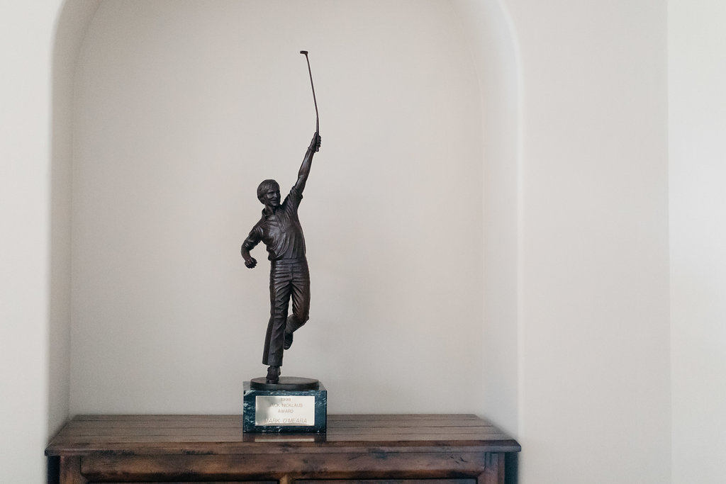 PURE member and golf legend Mark O'Meara's Jack Nicklaus Award in his home in Houston, Texas.