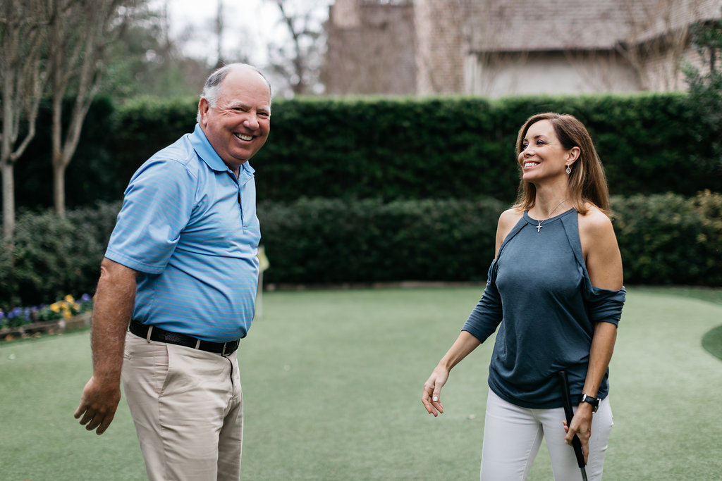 PURE member and golf legend Mark O'Meara and Meredith O'Meara, his wife, in their home in Houston, Texas.