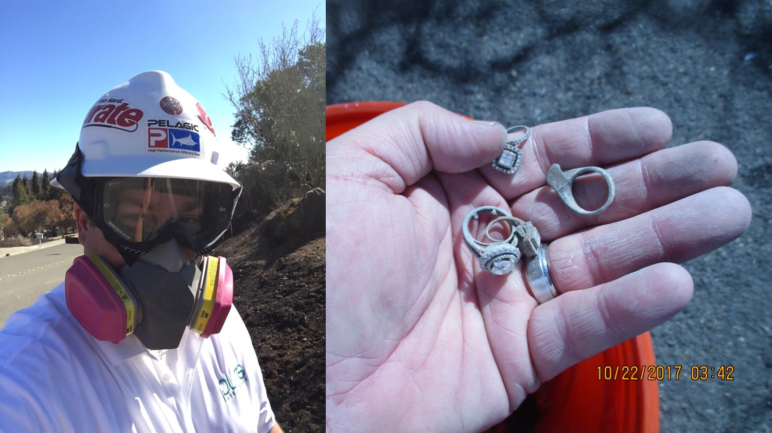 [Left] PURE Claims Adjuster Andy Brotherton at the property of PURE member Nina Mehta in Santa Rosa, California. [Right] PURE Claims Adjuster Andy Brotherton with several rings of PURE Member Nina Mehta's jewelry recovered at her property in Santa Rosa, California.