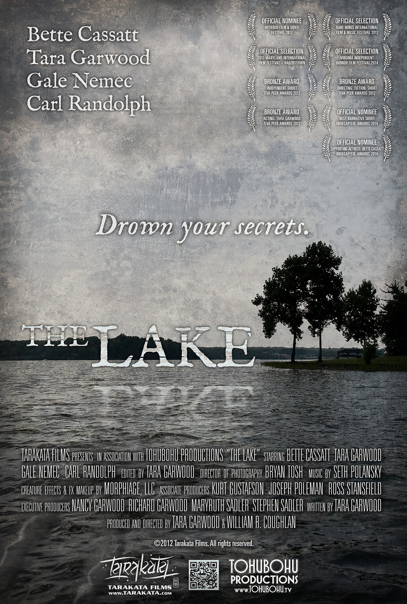 The Lake - 2012 · 11:14 · written by Tara Garwood · produced and directed by Tara Garwood & William R. CoughlanA Tarakata Films production in association with Tohubohu ProductionsThe Lake tells the story of two sisters, each dealing in her own way with the childhood loss of their father. Claire still lives at home with Mom and spends her days on the lake in their father's old rowboat. Laney has built her own life in the city, but when she comes back to visit, the sisters' discoveries will dredge up the past and the secrets that bind this family together may just tear them apart.