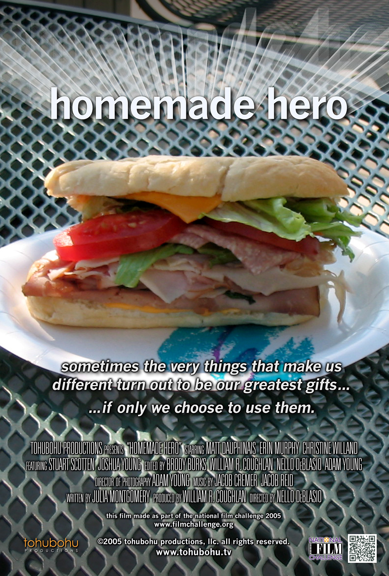 """Homemade Hero - 2005 · 6:56 · written by Julia Montgomery · produced by William R. Coughlan · directed by Nello DeBlasioEver since he was a child, Reuben knew he was different… and despite all his attempts to fit in with """"normal"""" people, he remains isolated and alone. But a chance encounter with an up-and-coming rock star gives him the spark needed to hone his supernormal skills, to shape himself into a true hero. And then Campbell, a new face in his office, demonstrates abilities comparable to his own, but with a bizarre twist — and nefarious intent. Reuben's coworkers are oblivious to the danger she represents, and slowly fall under her spell. As Campbell spreads her nefarious influence, Reuben's friends must decide: Soup… or hero?Tohubohu's second venture into the National Film Challenge (after our award-winning 2004 entry), """"Homemade Hero"""" — a film in the competition-mandated """"superhero"""" genre — was produced entirely over the weekend of October 21–October 24. Combining some of the best talent from Tohubohu's 48 Hour Film Project teams (including """"Quite Contrary"""" director Nello DeBlasio and """"The Big Lie"""" director William R. Coughlan as producer), """"Homemade Hero"""" also marked the Tohubohu debut of several new recruits, both on camera and behind the scenes."""