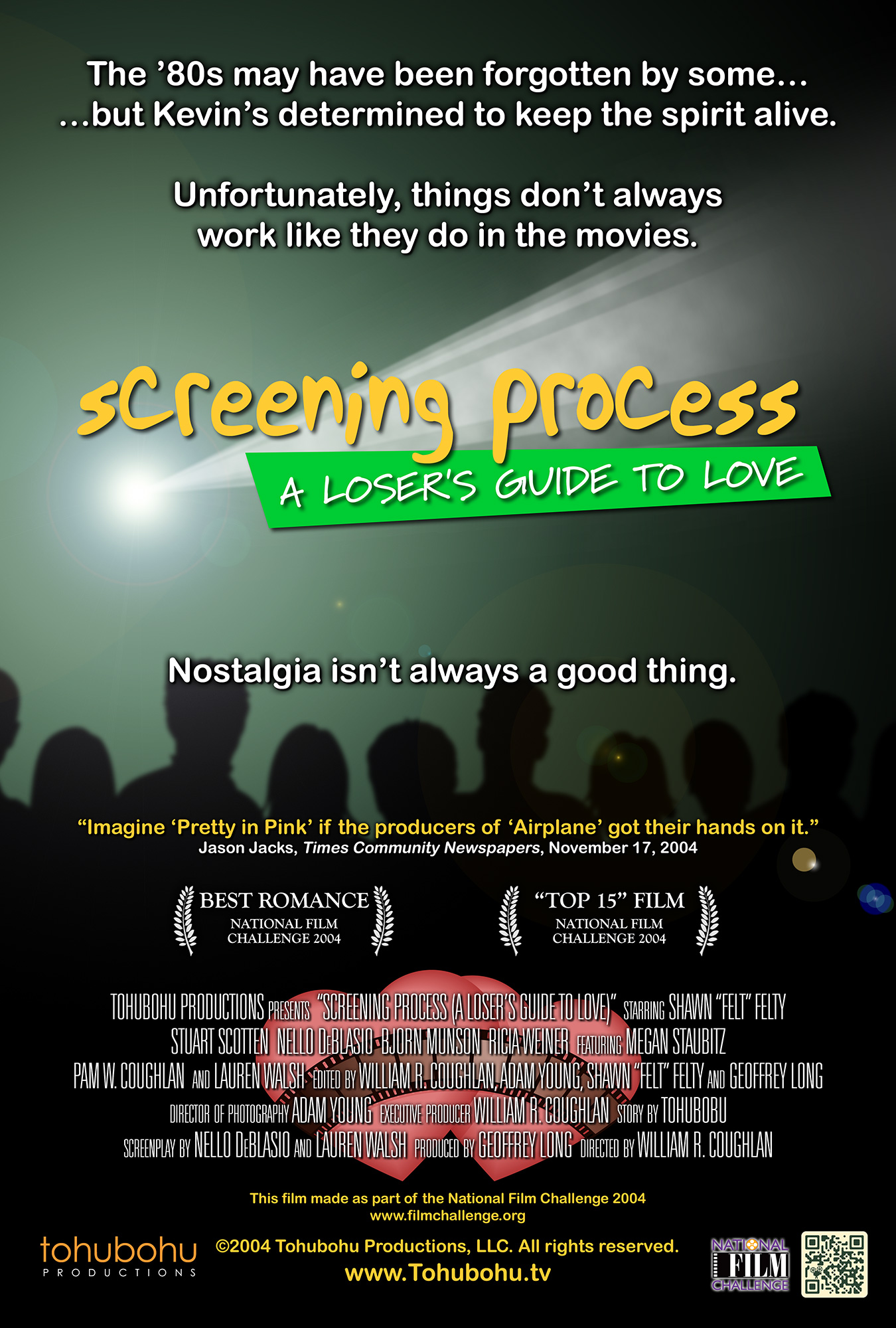 "Screening Process (A Loser's Guide to Love) - 2004 · 7:34 · story by Tohubohu · screenplay by Nello DeBlasio and Lauren Walsh · produced by Geoffrey long · directed by William R. CoughlanKevin can't seem to catch a break in the romantic arena, and his poker buddies aren't afraid to let him know it. Over the course of a friendly game, they recount his romantic misadventures, and a pattern emerges — all of Kevin's concepts of romance derive from 1980s-era films. Which might be all right, except that Kevin can't seem to execute them the way they come off in the movies. Whether he's reenacting his favorite scenes from ""Pretty in Pink,"" ""Ferris Bueller's Day Off,"" ""Top Gun,"" or ""Say Anything,"" he always manages to end up with egg on his face. That is, until he meets just the right woman…""Screening Process (A Loser's Guide to Love)"" — a romance — was Tohubohu's official entry into the 2004 National Film Challenge competition. The short was written, shot, and edited over the weekend of October 1–4, 2004. Its first theatrical screening was at the Warehouse Theater on Tuesday, November 9, followed by a showing as part of Washington, D.C.'s Art-O-Matic festival on December 2."