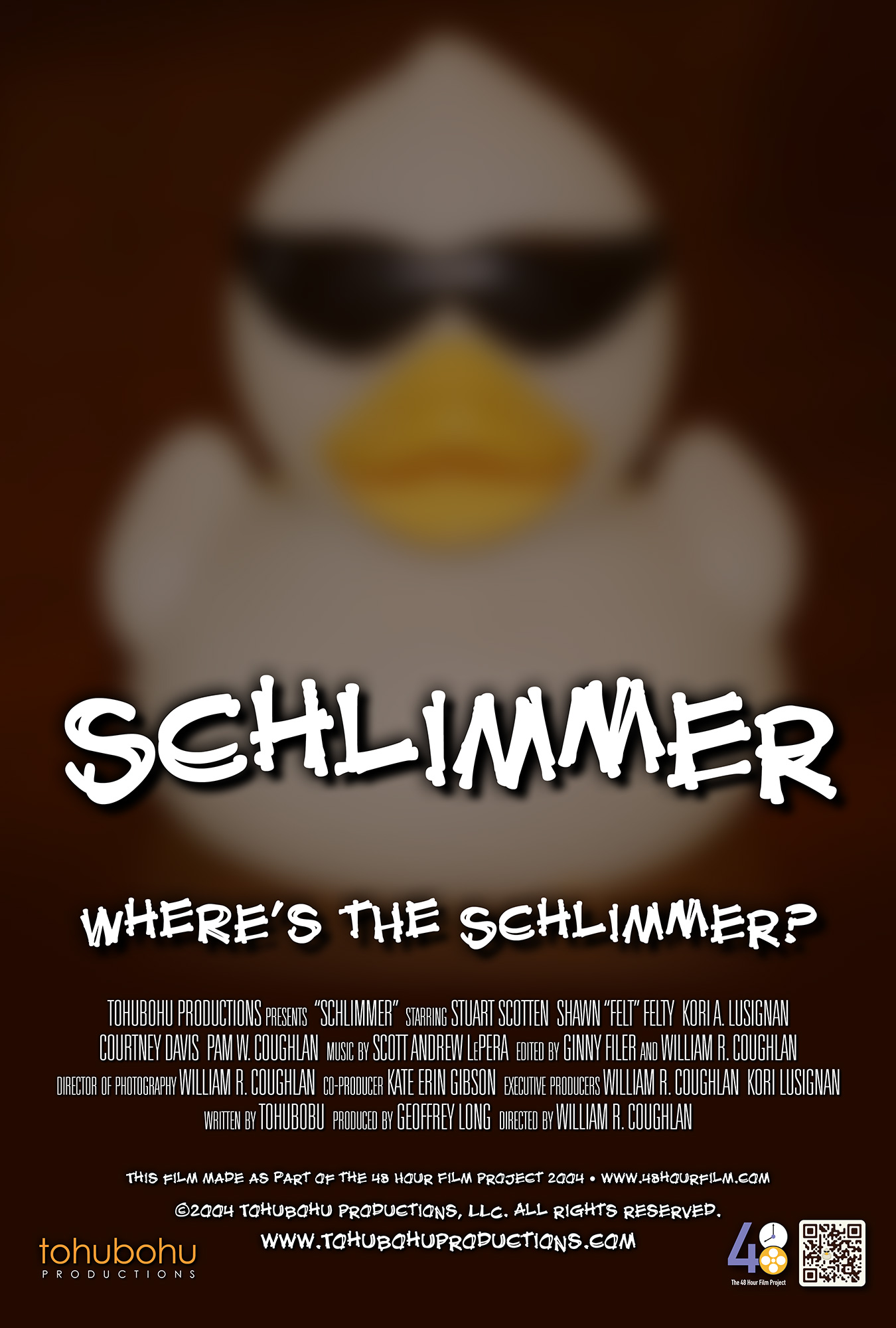 """Schlimmer - 2004 · 8:12 · written by Tohubohu · produced by Geoffrey long · directed by William R. CoughlanSebastian is eager to show off his latest acquisition to a cadre of eccentric — and soon-to-be-jealous — art collectors, even hiring his photographer nephew to capture the unveiling for posterity. But when the """"Schlimmer"""" turns up missing, accusations of theft begin flying, and long-simmering resentments begin to undermine the group's cohesion.""""Schlimmer"""" — a mystery — was made as part of the 48 Hour Film Project 2004. The entire piece was created over the weekend of May 7–9, 2004, and first screened at the AFI Silver Theatre on Friday, May 14."""