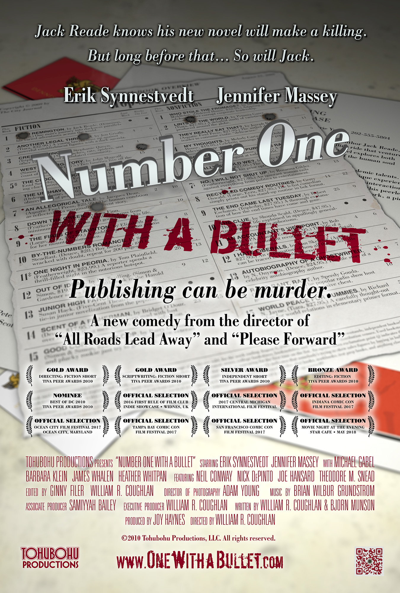 "Number One With a Bullet - 2010 · 19:42 · written by William R. Coughlan & Bjorn Munson · produced by Joy Haynes · directed by William R. CoughlanJack Reade is a mild-mannered academic who finally has a chance to publish his own Great American Novel. But just as he thinks his tome will see print, Pete Willoughby, a smug and influential editor, informs Jack that the book will remain locked in publishing purgatory. After an accident befalls Pete, Jack forges a desperate alliance with Carrie Singer, a disgruntled employee who also happens to be the book's number-one fan. Together, they concoct an insane scheme to cover up Pete's death and greenlight the book. Unfortunately, the publishing process is chock full of required approvals, and before long, other denizens of Dennison Publishing begin to fall prey to ""accidents.""The team that brought you the popular and award-winning shorts ""Screening Process,"" ""Quite Contrary,"" ""Machinations,"" ""You Pay Your Dues,"" and ""All Roads Lead Away"" is back with ""Number One With a Bullet,"" a fast-paced black comedy short. At the 2010 TIVA Peer Awards, the film took home a Bronze, a Silver, and two Gold Awards, as well as garnering a nomination in the prestigious ""Best of DC"" category."