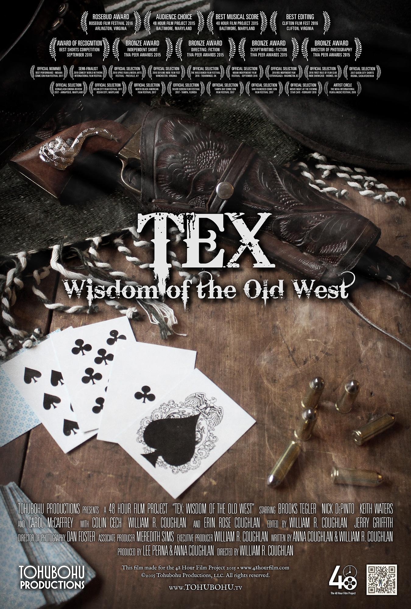 """Tex: Wisdom of the Old West - 2015 · 6:51 · written by Anna Coughlan & William R. Coughlan · produced by Lee Perna & Anna Coughlan · directed by William R. CoughlanQuentin has a problem: one of his neighbors is gradually taking over the community garden, pushing everyone else out and consolidating her claim. His friend Brent is pushing him to confront the offender, but Quentin seeks the wisdom of Tex — a genuine Old West gunslinger who just happens to find himself in the modern era.Tohubohu — now equipped with a largely portable postproduction setup — competed for the first time in the Baltimore 48 Hour Film Project with """"Tex"""" — a comedic modern interpretation of the classic western. The film was created entirely between June 12th through the 14th, 2015, and premiered at the Charles Theatre on Tuesday, June 23rd, earning both an Audience Choice Award and Best Musical Score recognition."""
