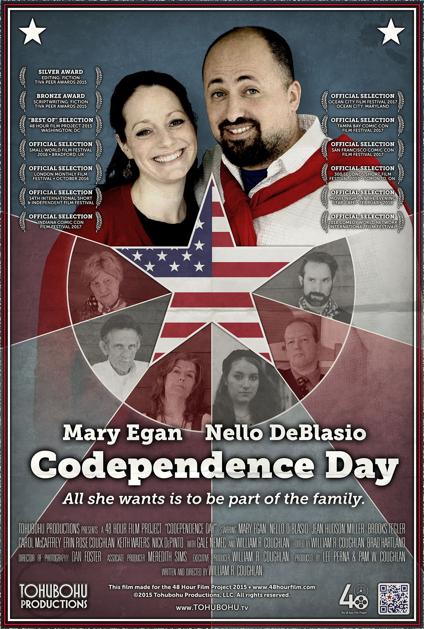 """Codependence Day - 2015 · 5:00 · produced by Lee Perna & Pam W. Coughlan · Written and directed by William R. CoughlanEmily is nervous about meeting her husband Wilson's family for the first time at their annual Independence Day gathering. Having eloped, she is concerned that the family will never accept her as one of their own. But Wilson has a plan to bring her into the fold — competing in the family's annual (if ridiculous) tradition of throwing balls at a target object, a barely-recognizable variation of bocce.After producing only one short film each year in 2013 and 2014, Tohubohu returned to the 48 Hour Film Project with a vengeance in 2015 with """"Codependence Day"""" — an offbeat interpretation of the traditional """"holiday film."""" The film was created entirely between May 1st through the 3rd, 2015, and premiered at the AFI Silver Theatre on Friday, May 8th."""