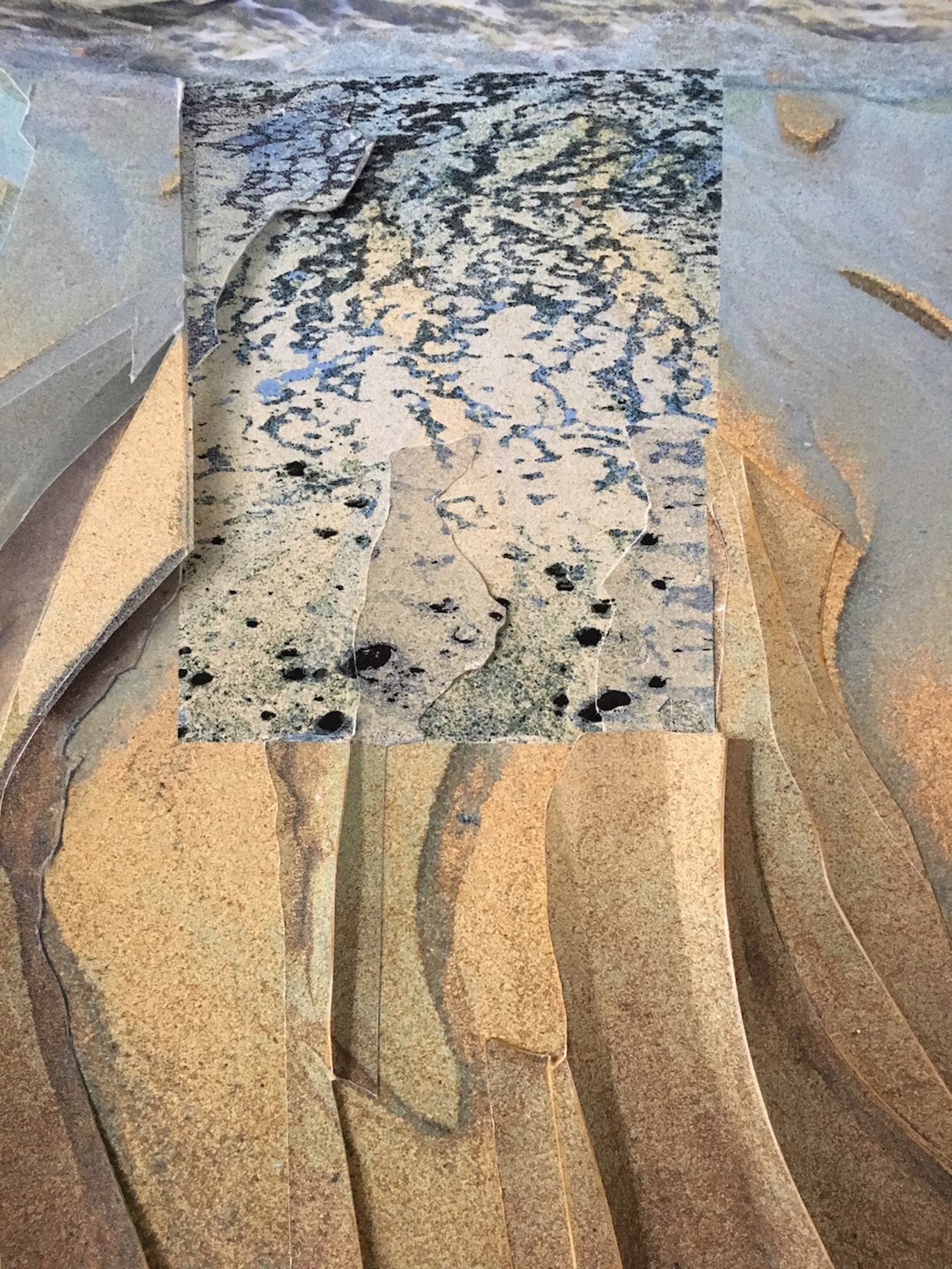 """Water's Edge  Unique Multilayered Pigment Print, 20""""x16"""" framed"""