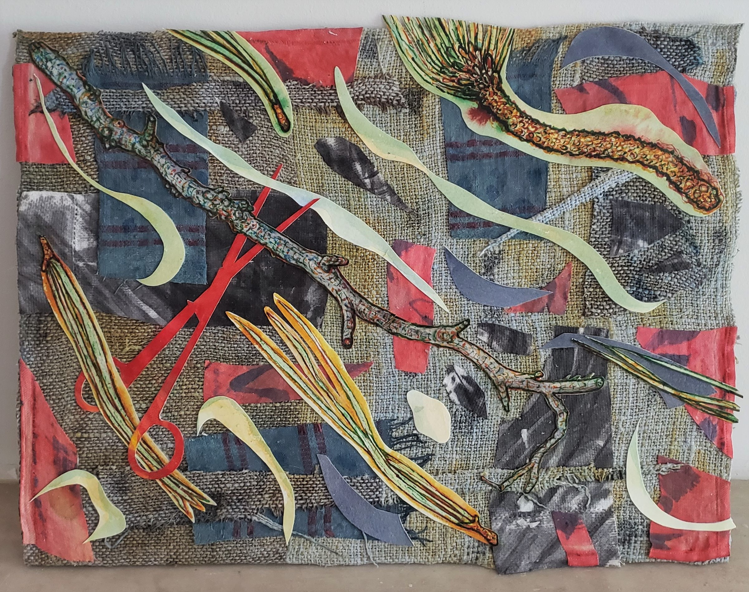 """Margaret Fuller Series # 10  Mixed-media painting/collage, 12"""" x 16"""""""