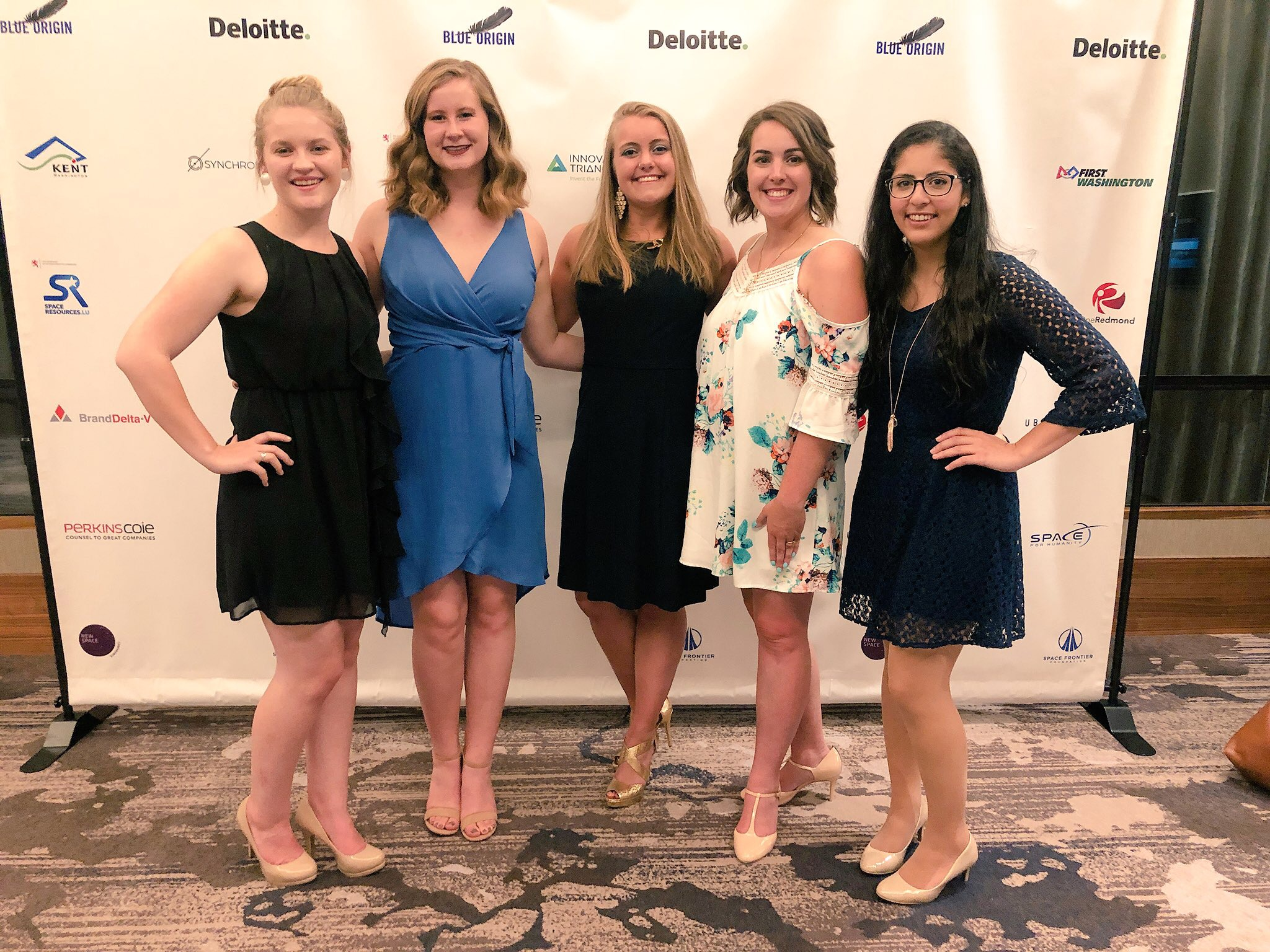Me (BOF'18), Esther (BOF'18), Madie (BOF'18), Kristin (BOF'18) and Sumayya (BOF'17) at the  NewSpace Conference  in Seattle where the Fellowship won the Stakeholder Expansion Award