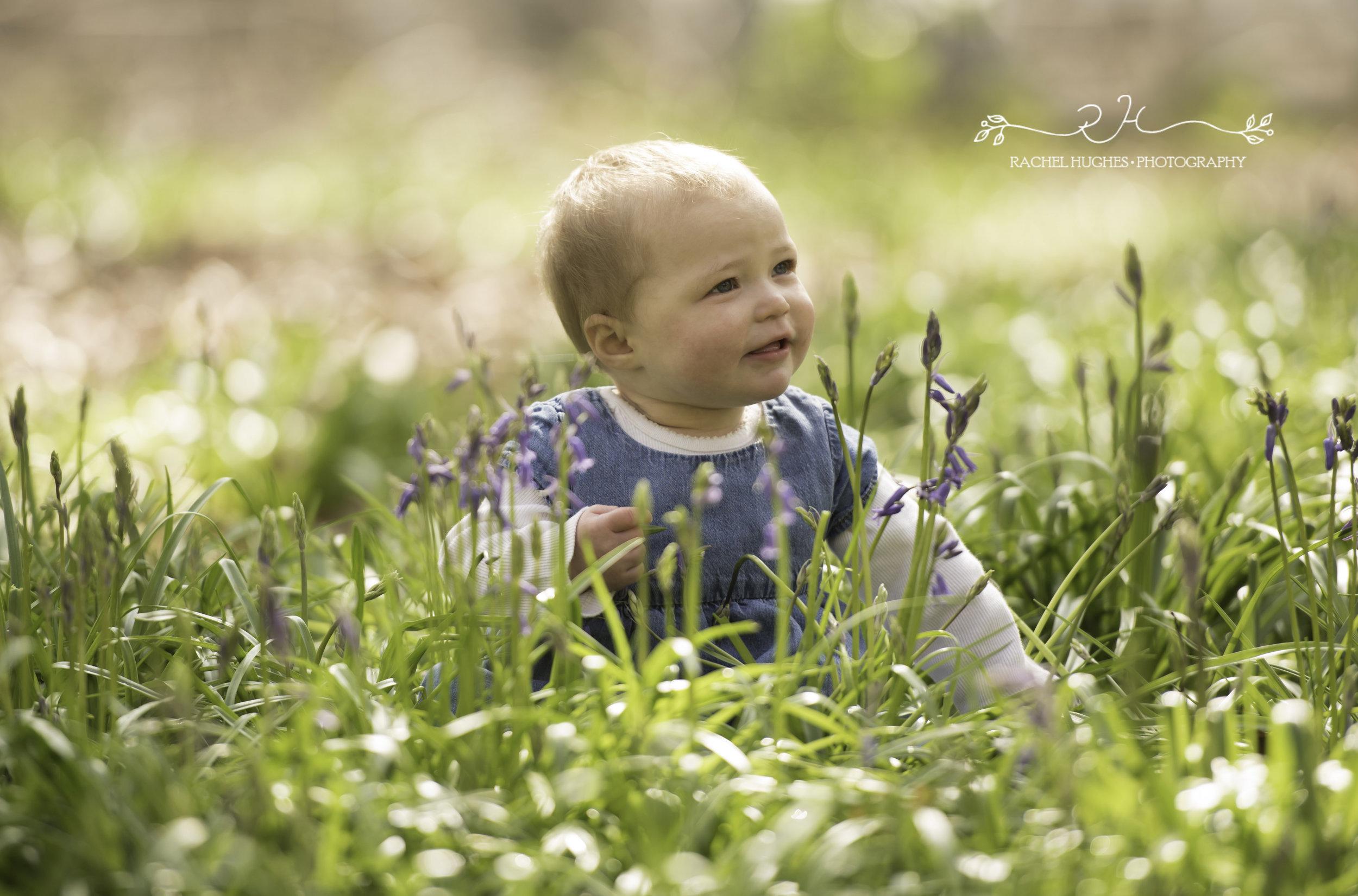 Baby girl in bluebells