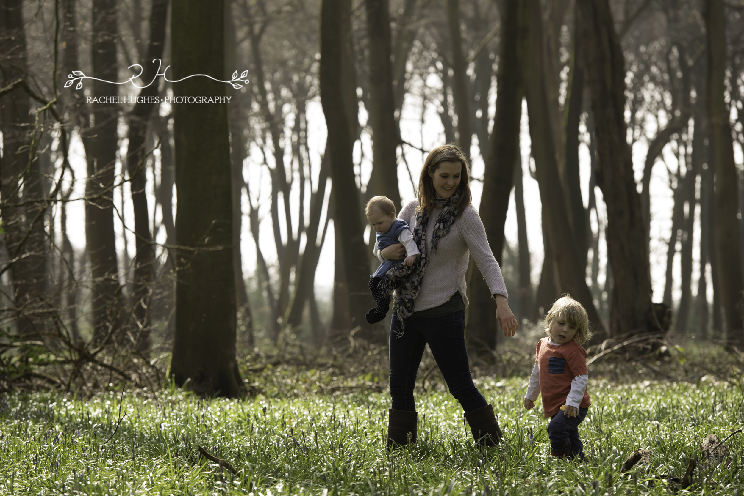 Walking with mummy in the woods