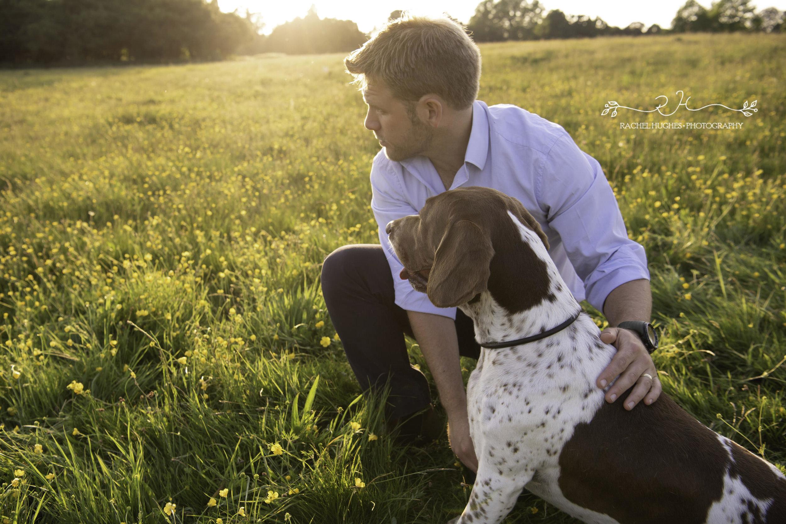 Jersey photographer - English pointer dog at sunset