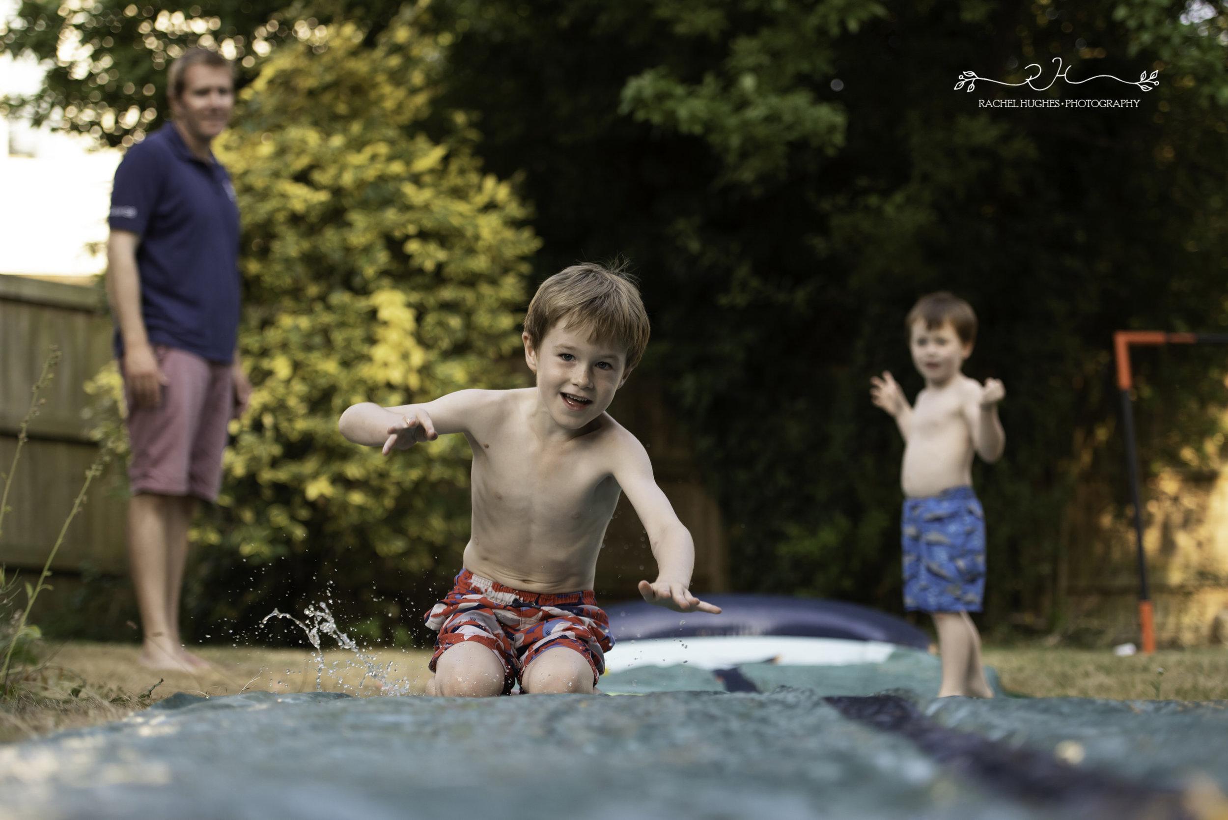 Jersey photographer - boys on water slide