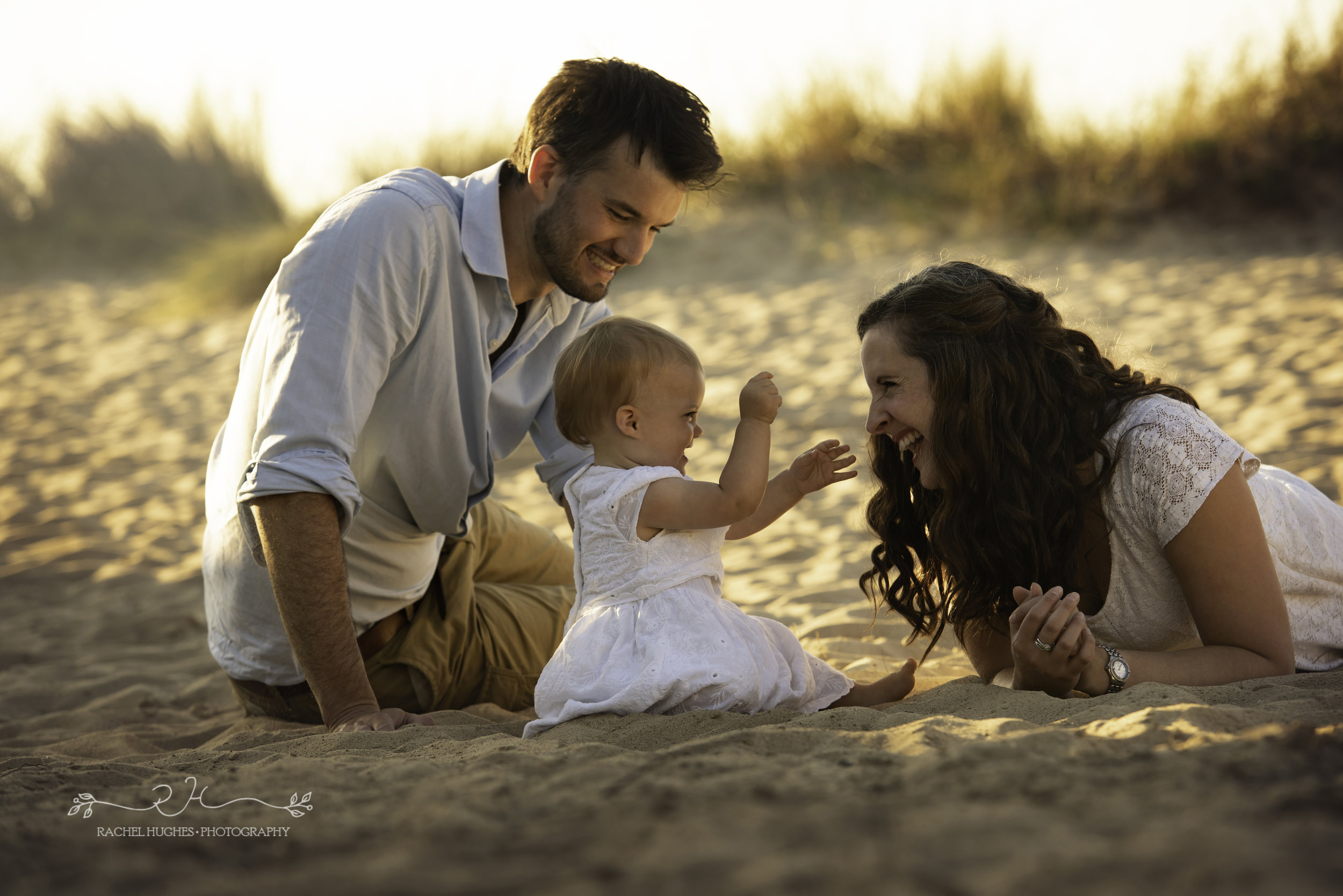 Jersey photographer - baby at sand dunes with parents