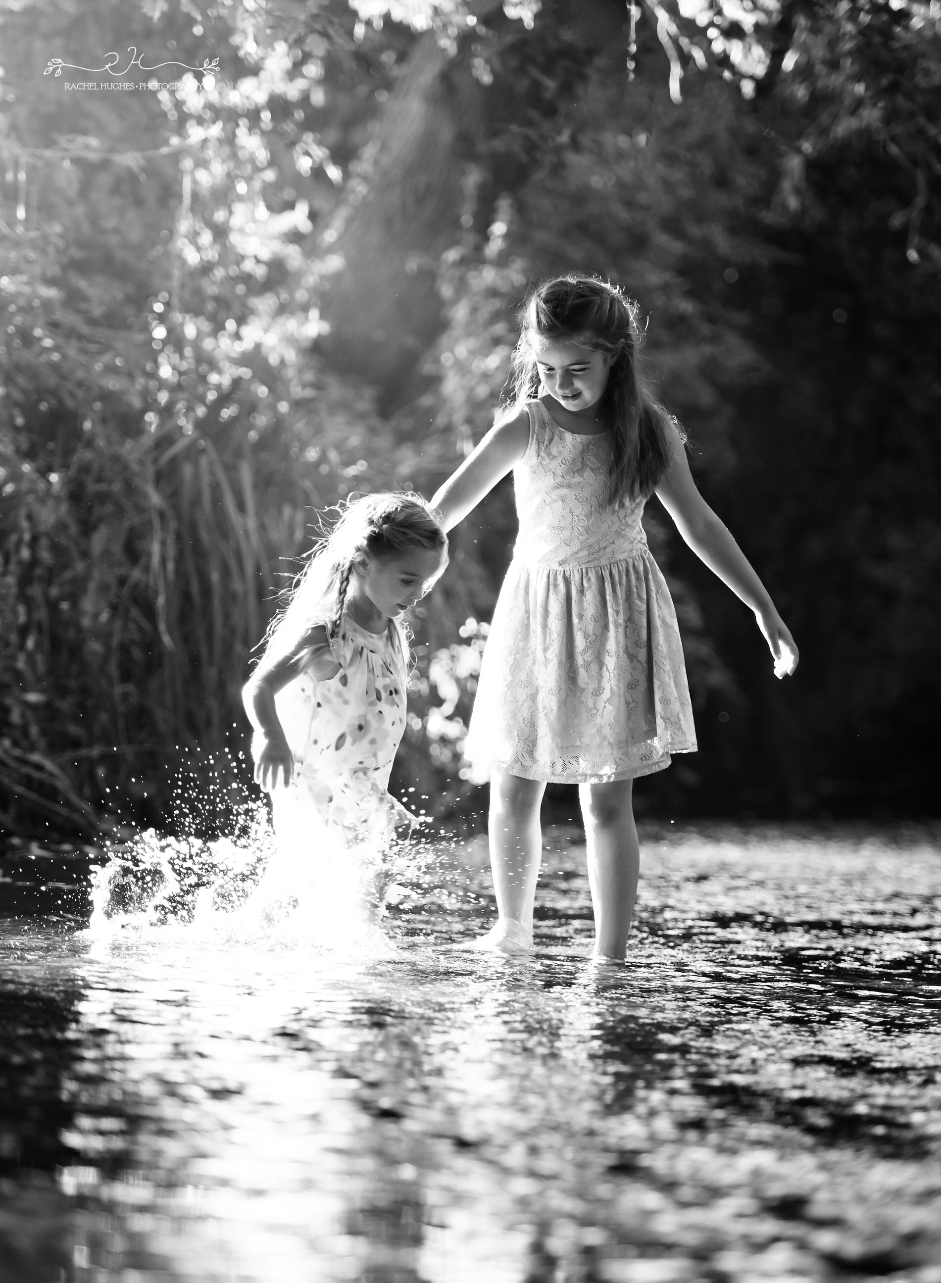 Jersey photographer - sisters dancing in river