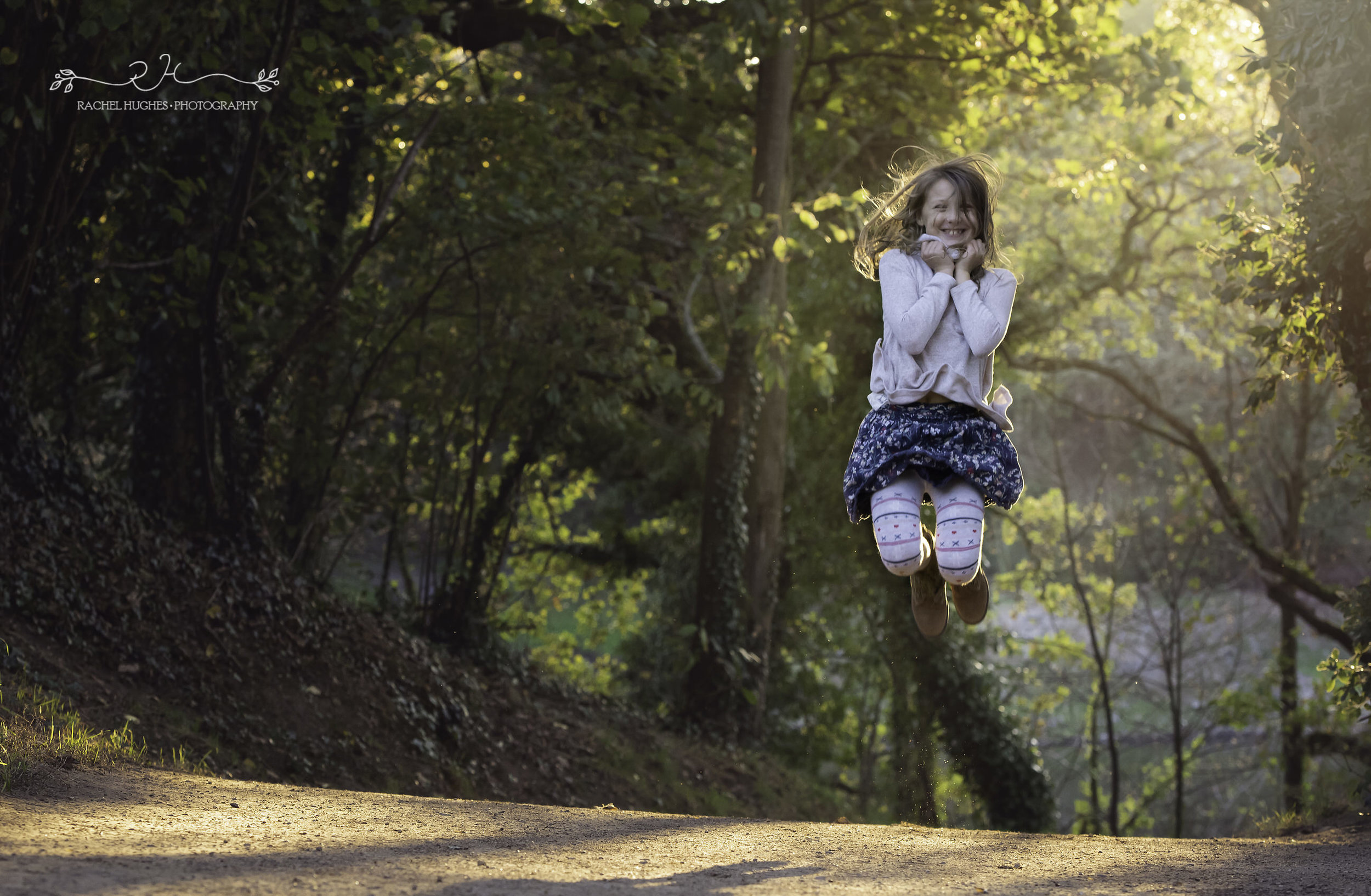 Jersey photographer - girl jumping in autumn light