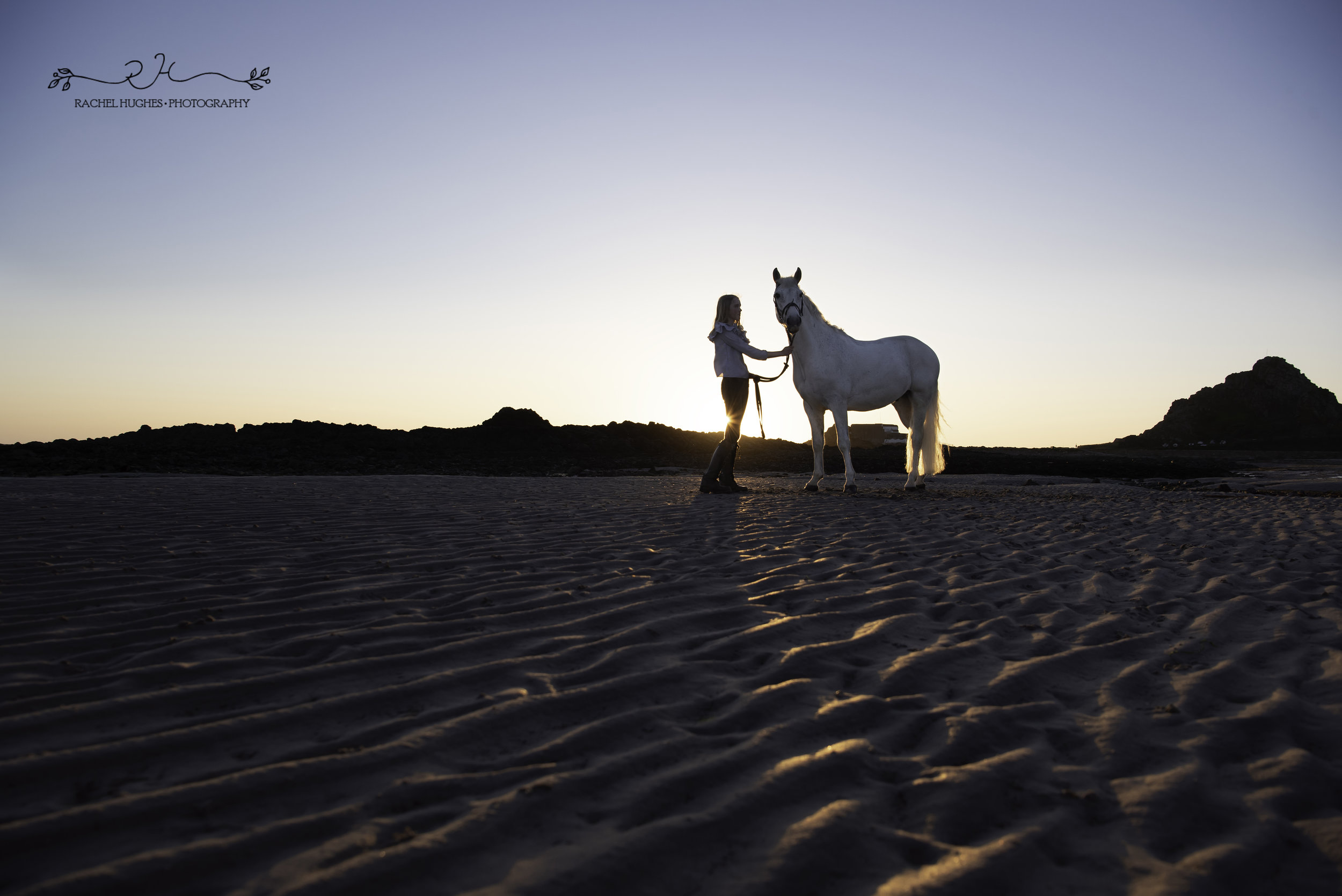 Jersey photographer - girl and horse silhouetted at sunset