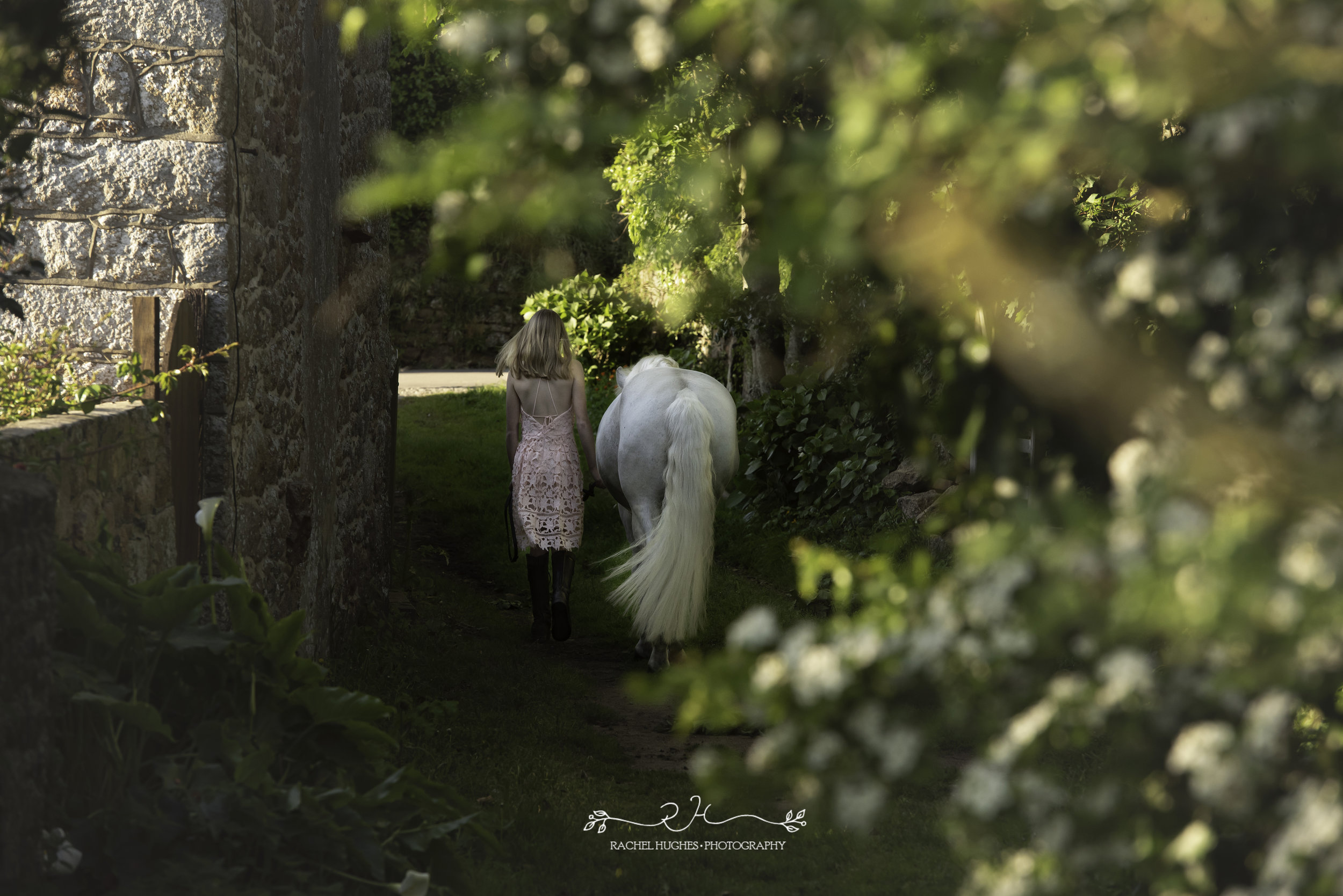 Jersey photographer - girl leading horse to beach