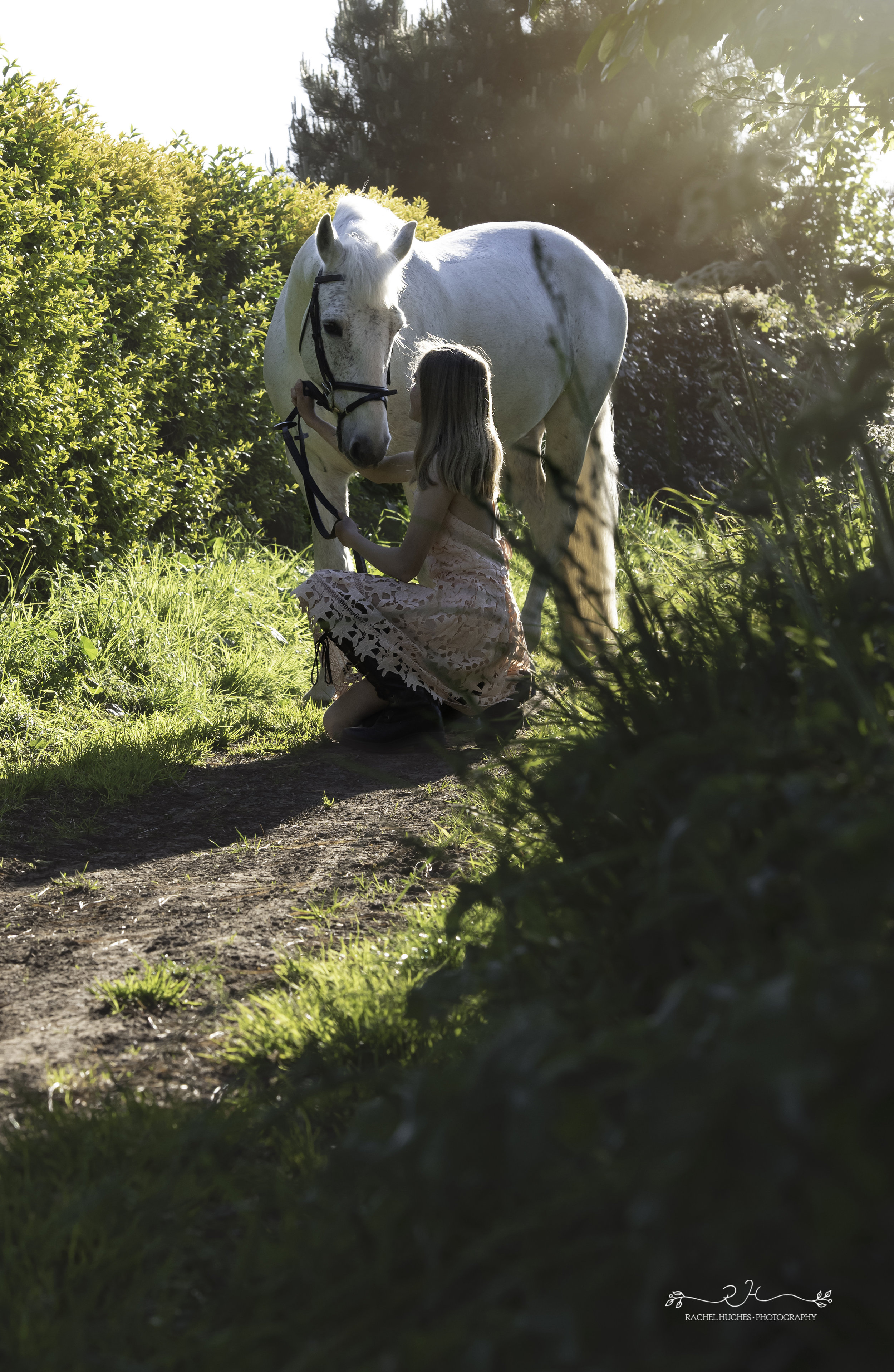 Jersey photographer - girl bending down with horse