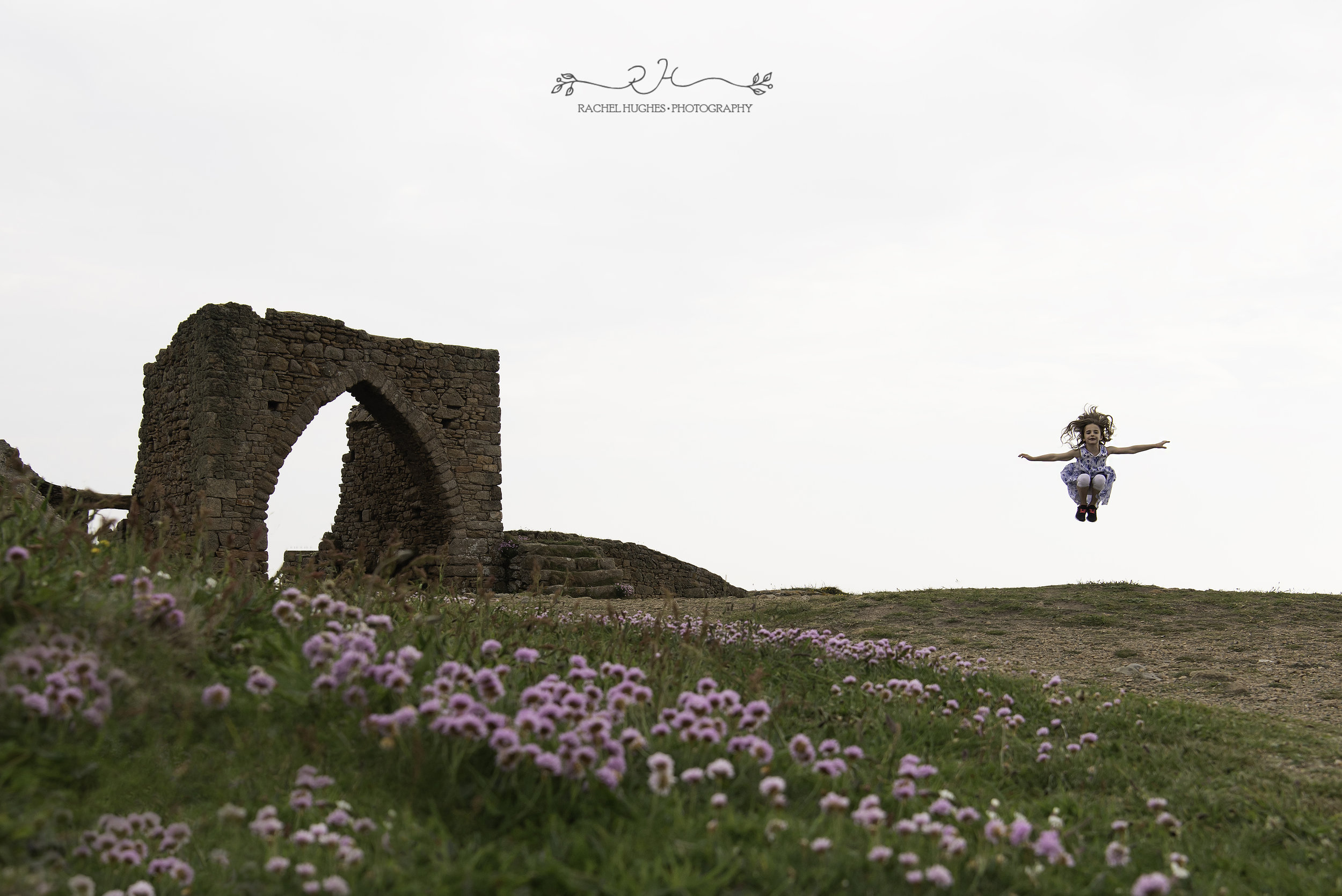 Jersey photographer - gymnast jumping at Grosnez castle