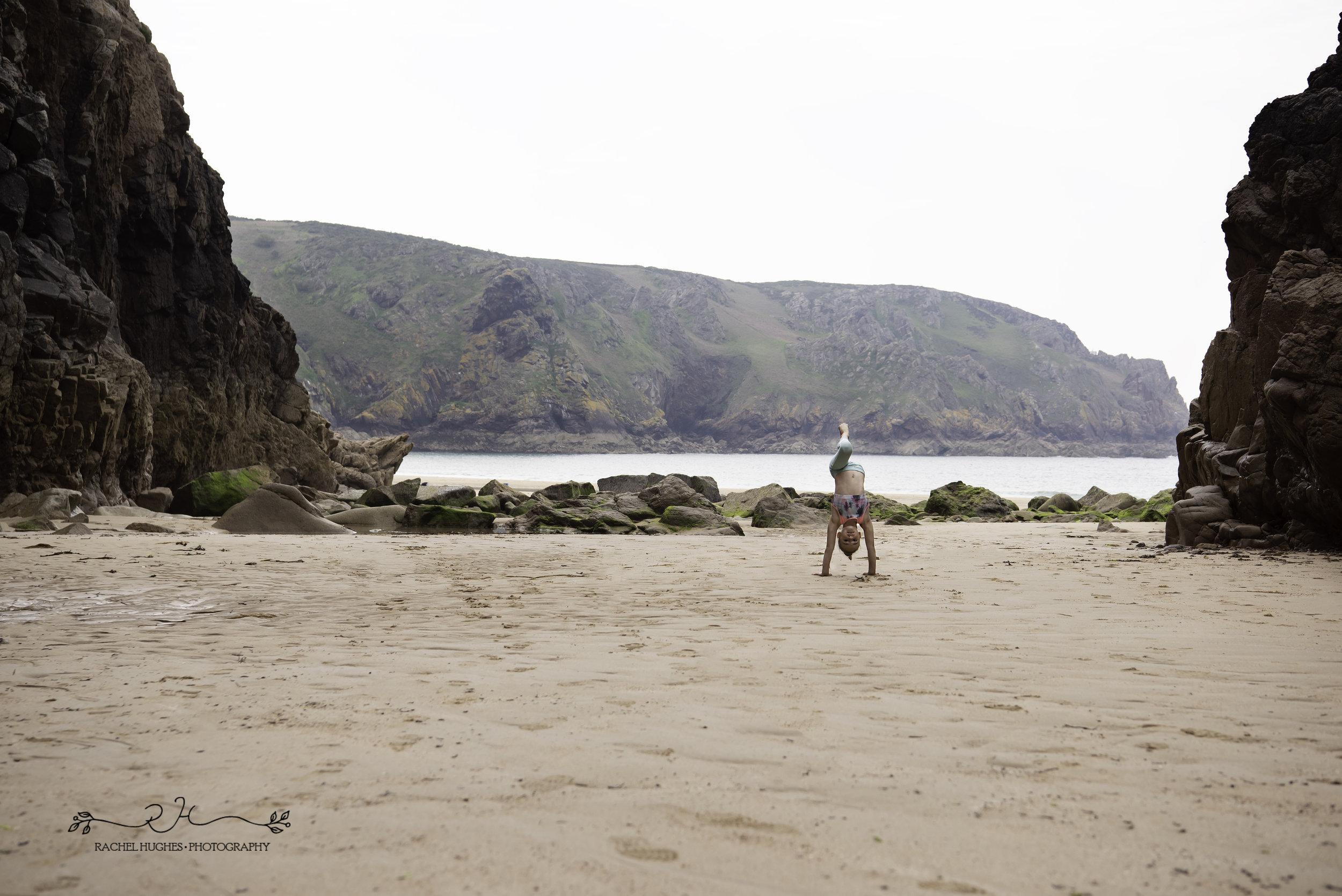 Jersey photographer - gymnast photoshoot at Plemont beach