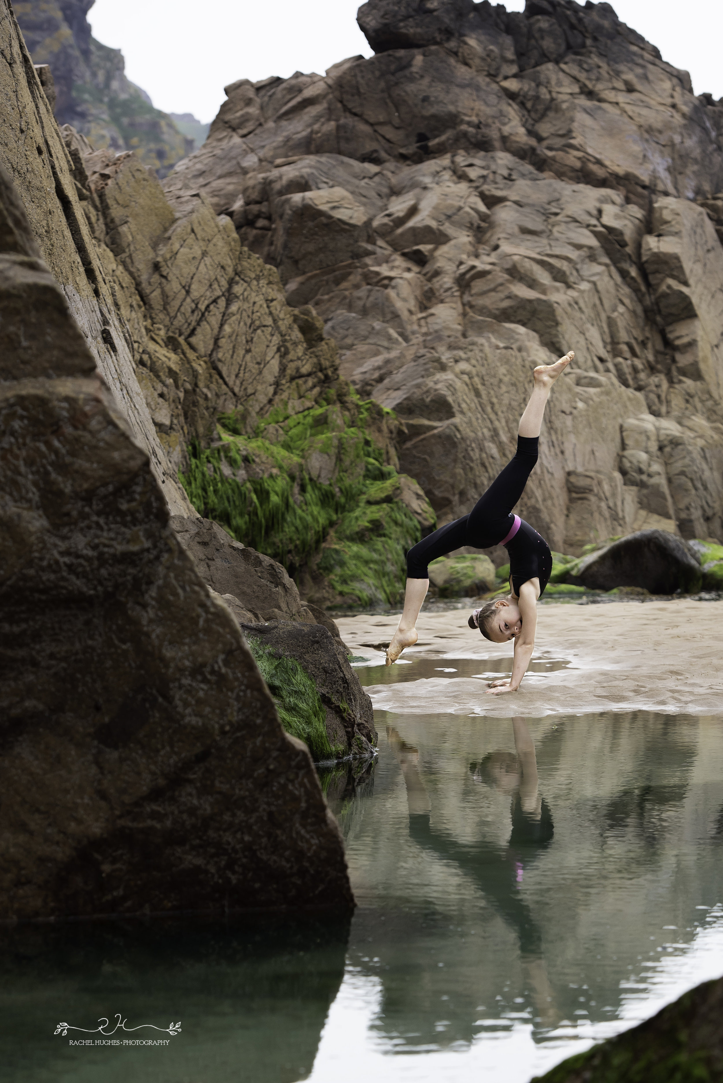 Jersey photographer - gymnast reflected in tidal pool