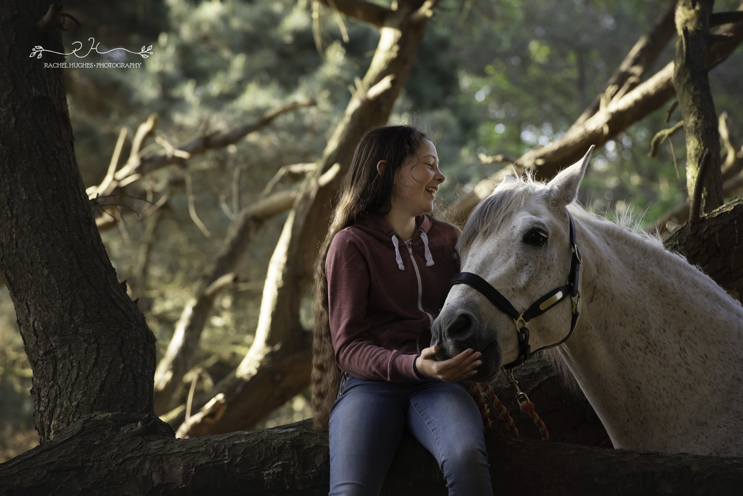 Jersey photographer - autistic girl laughing with her horse