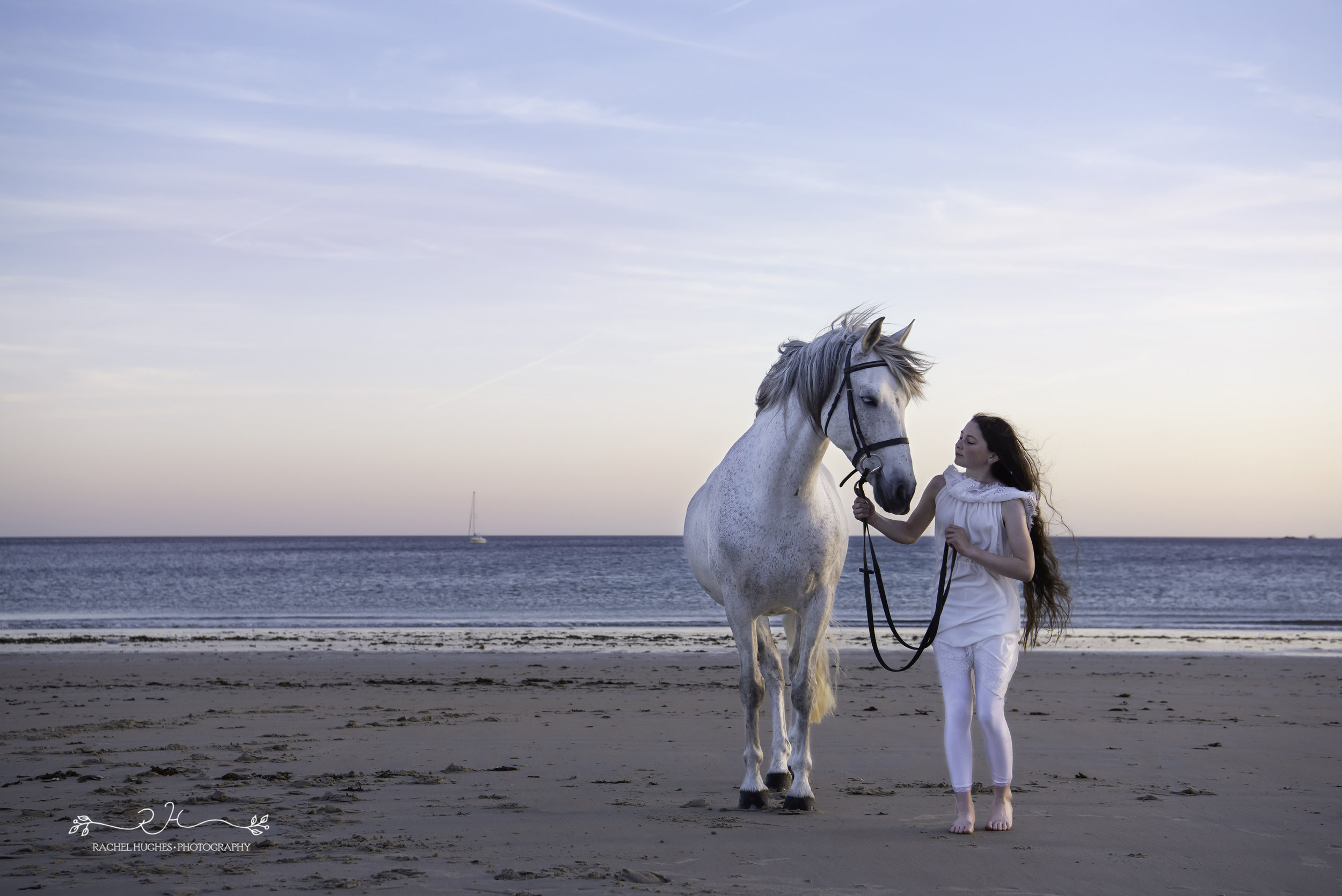 Jersey photographer  - girl and rescue horse walking at the beach