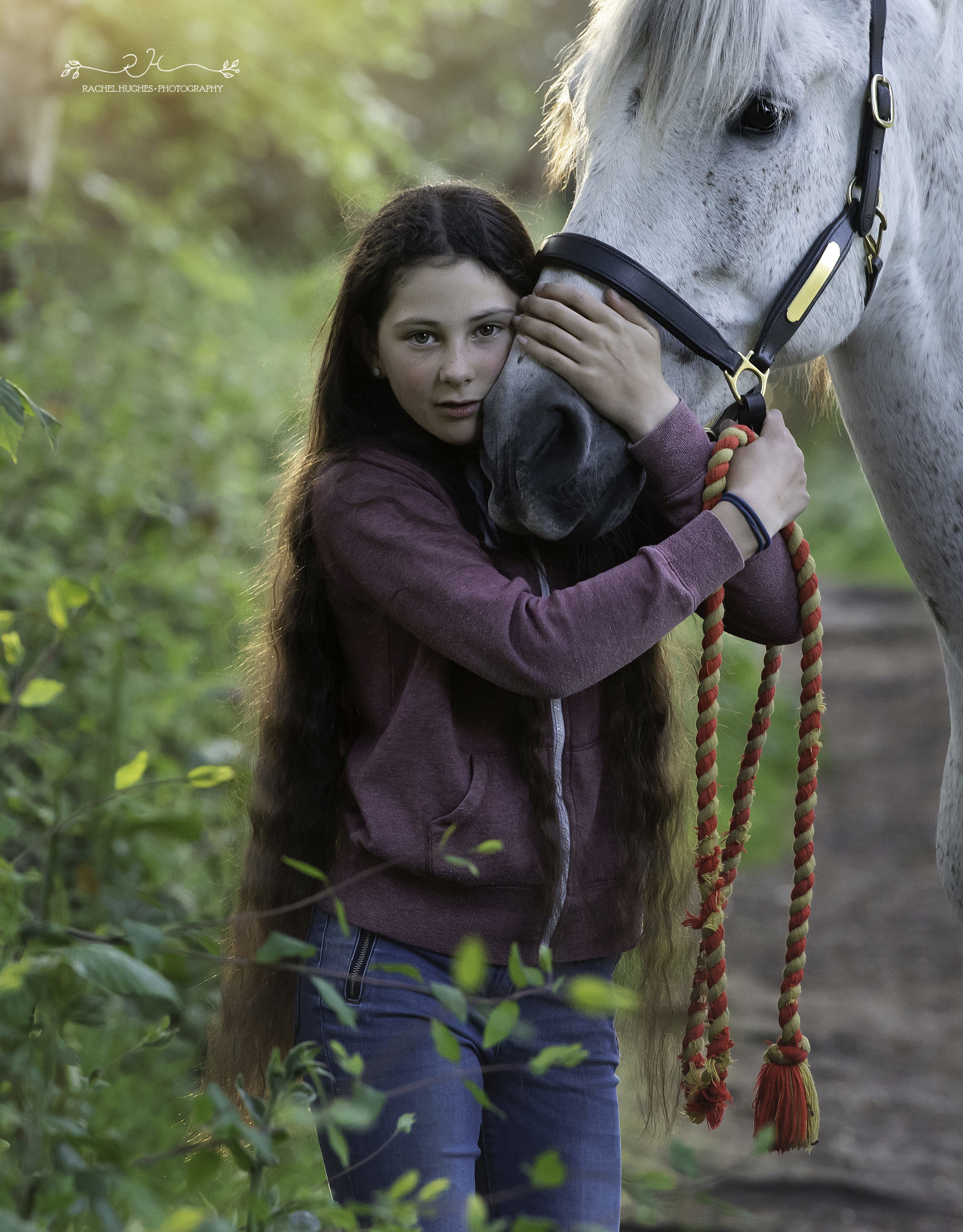Jersey photographer - girl holding her horse close
