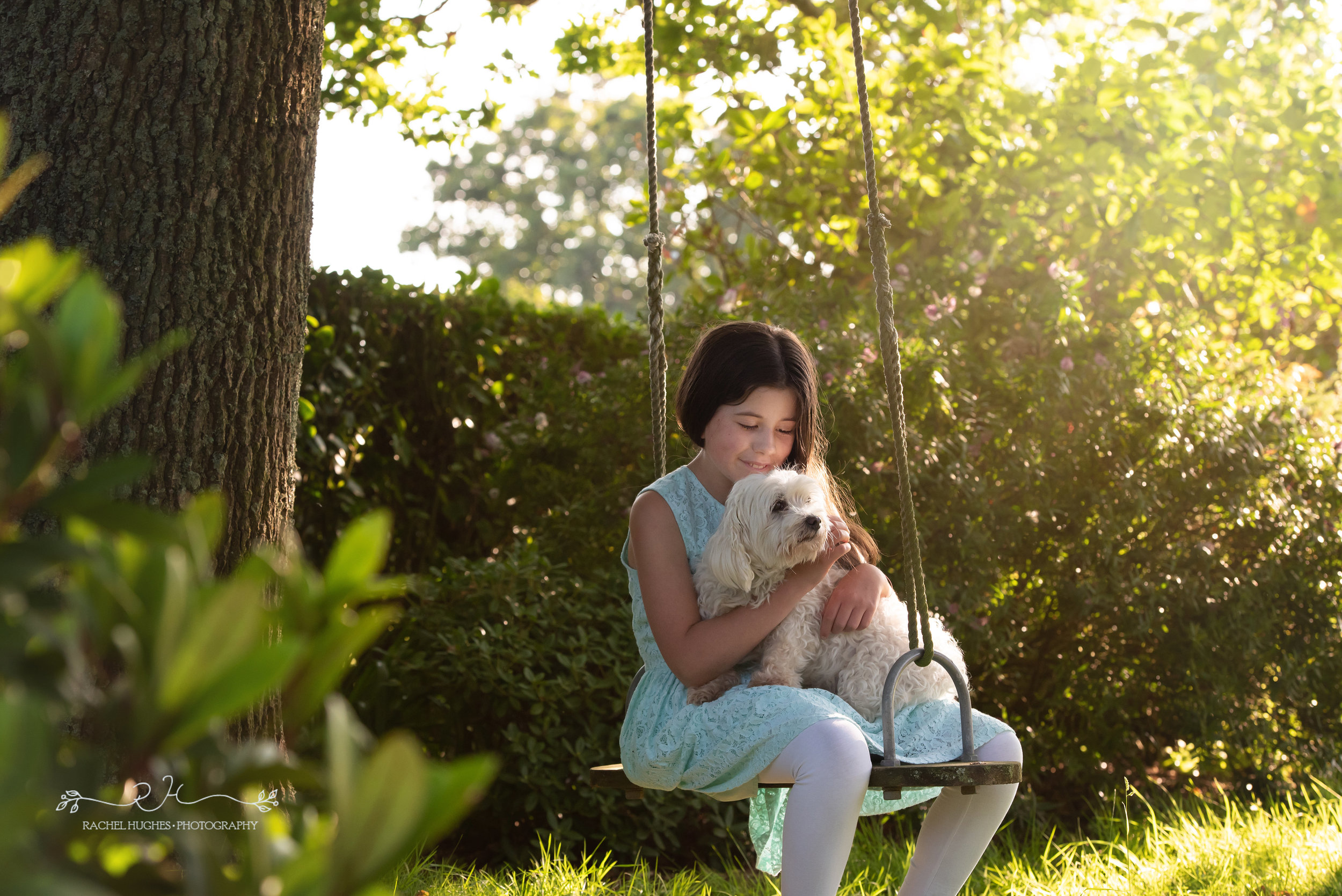 Jersey photographer - girl and dog in garden swing