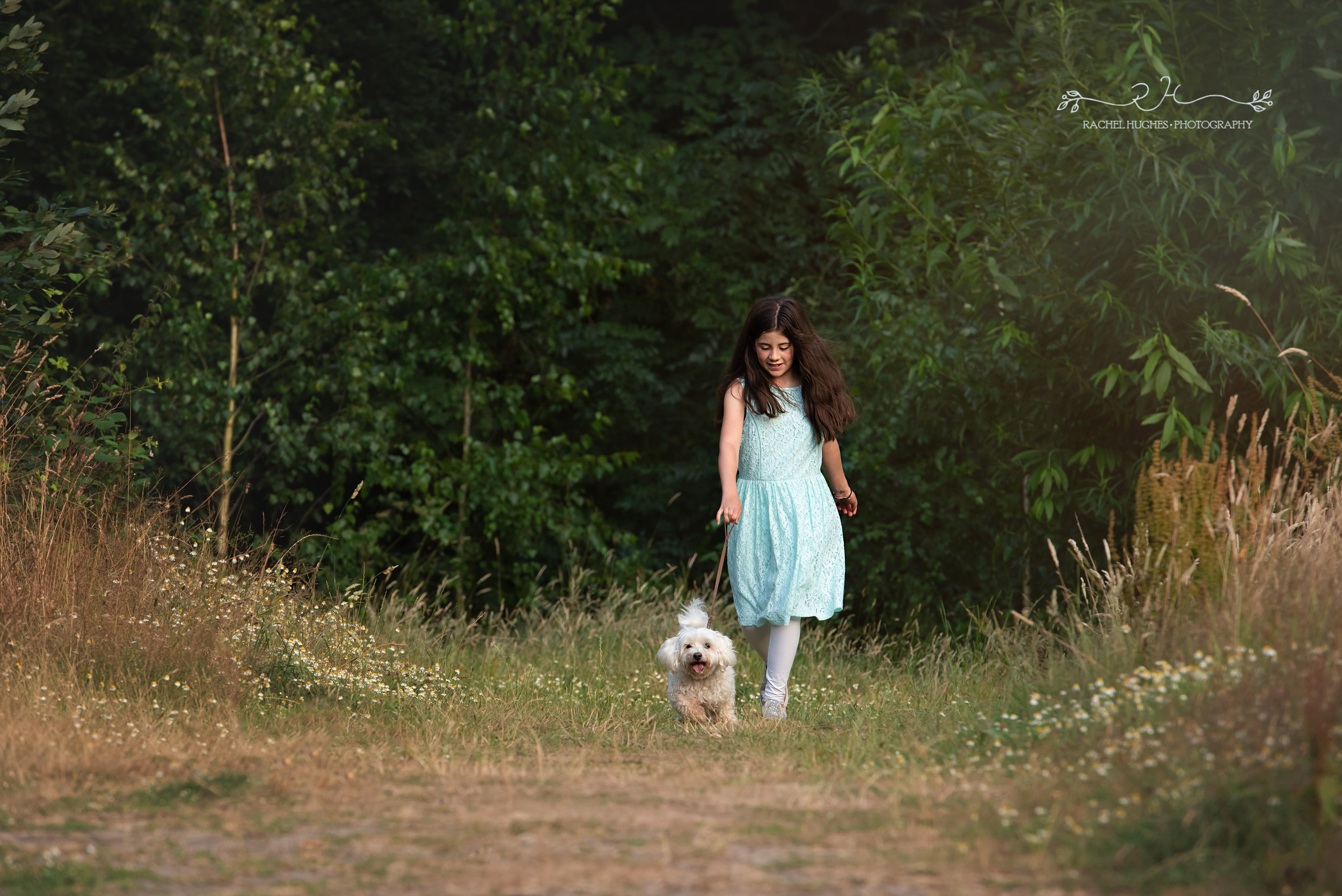 Jersey photographer - girl walking her dog in field