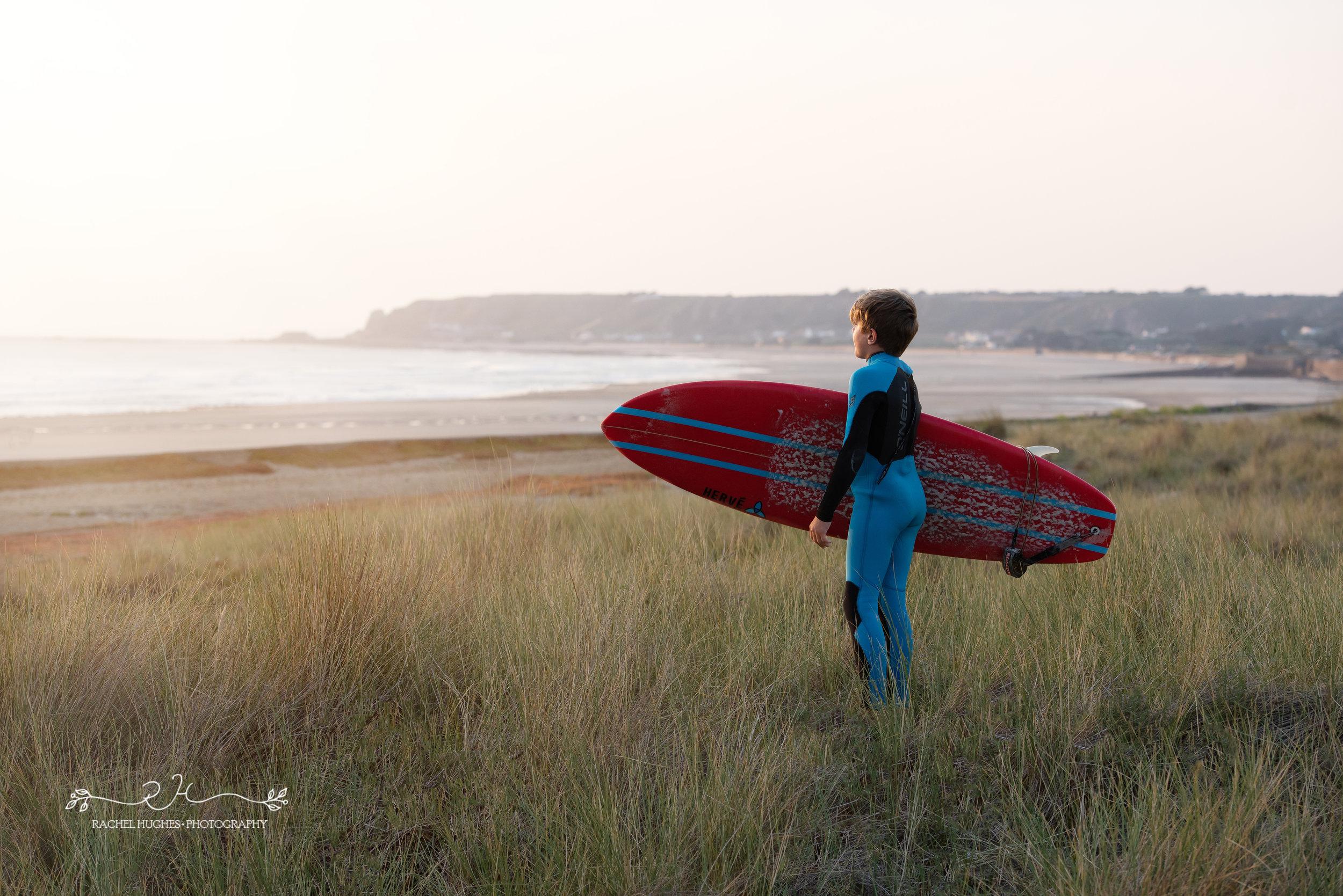 Jersey photographer - boy watching surf at St Ouens