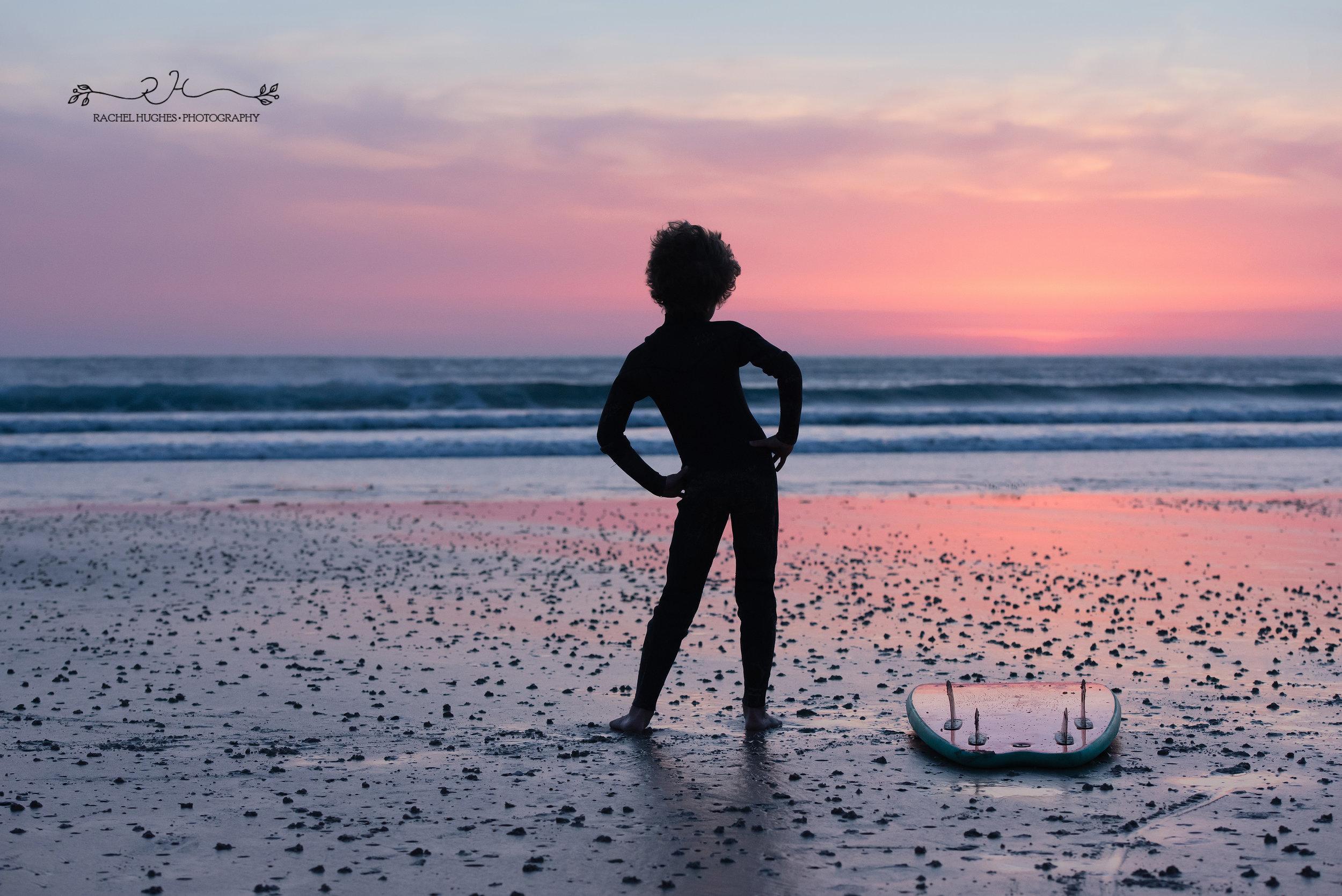 Jersey photographer - surfer boy posing at sunset