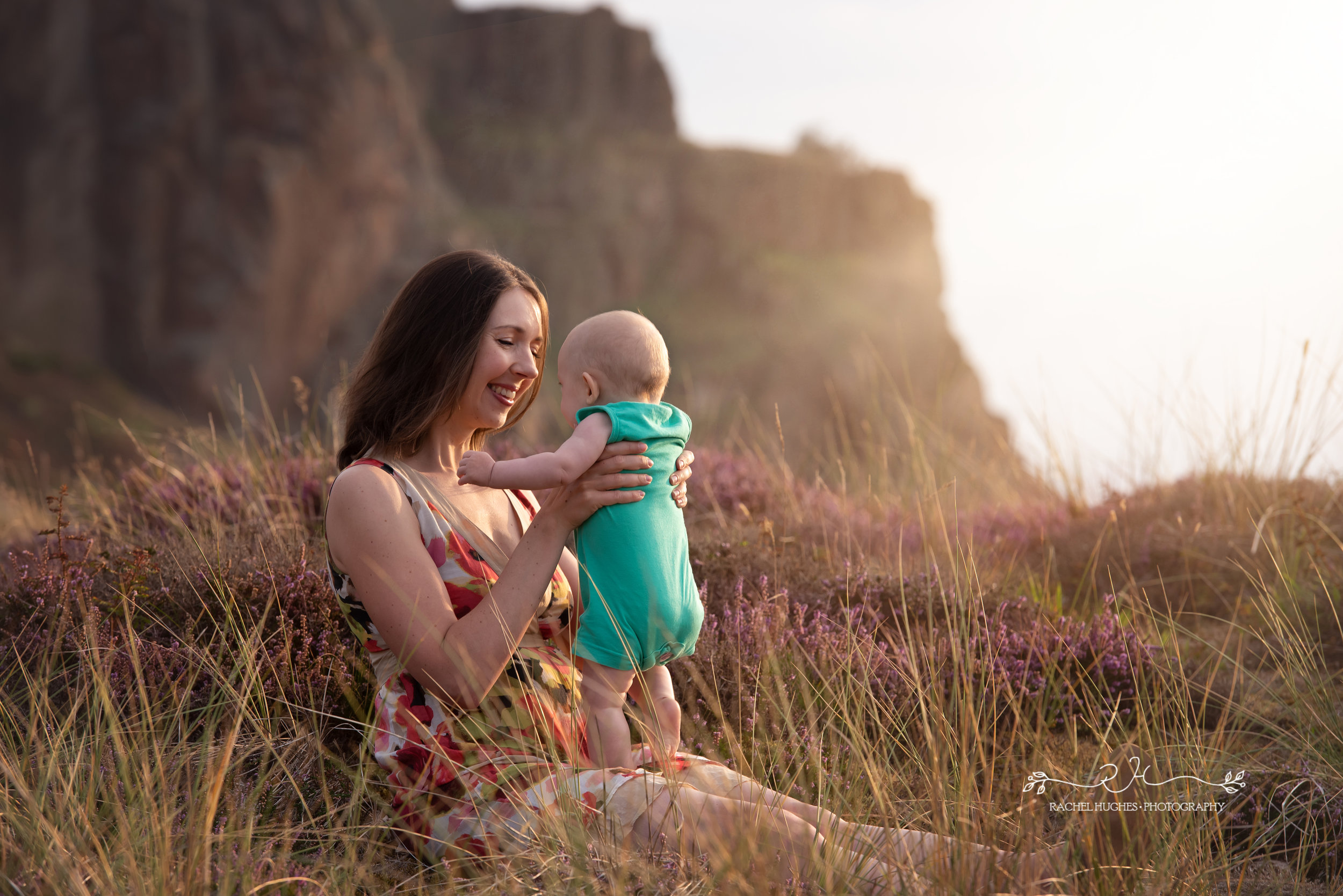 Jersey family photographer - mother and baby in heather flowers
