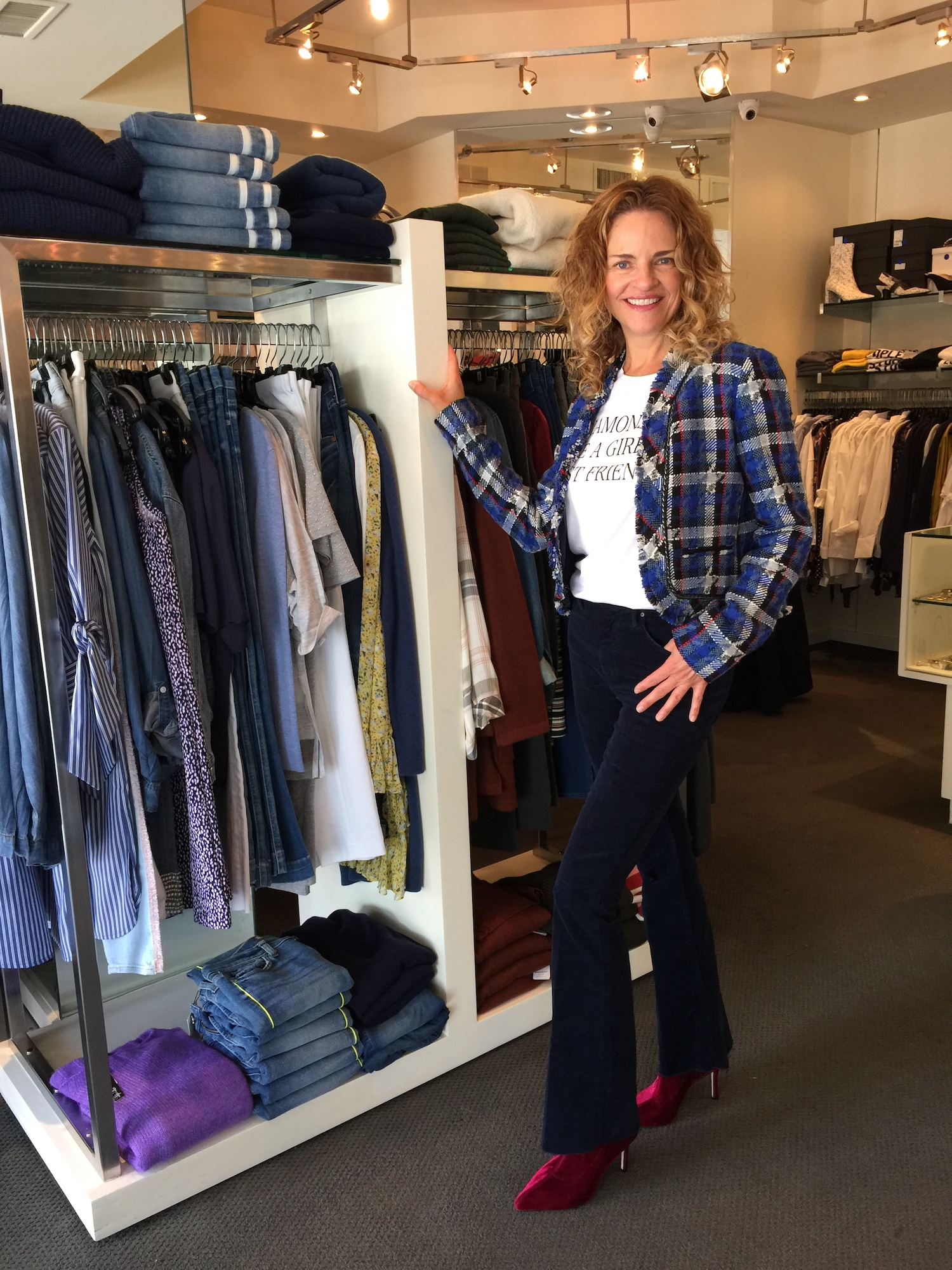 This plaid blazer is fun, classy and chic all at once and pairs beautifully with dark denim or structured black pants. Alice & Olivia blazer, available at Tocca Finita, $ 595.