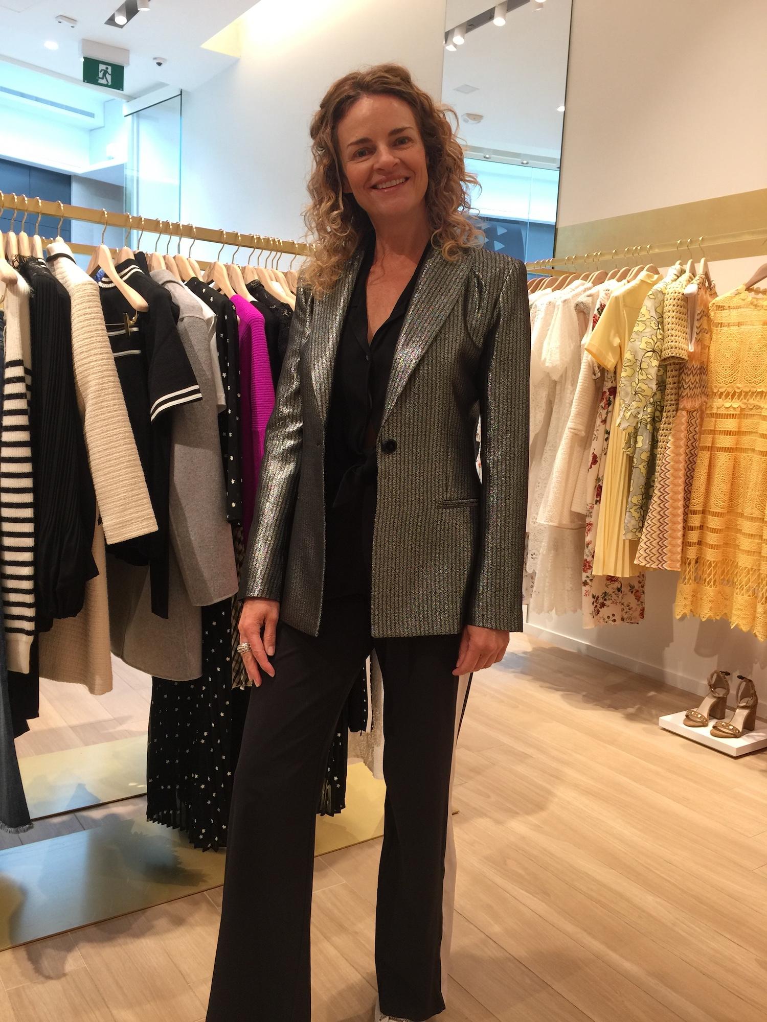A classic blazer, reinvented in metallic, is surprisingly versatile.  Maje blazer, $ 510.